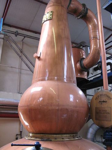 Pot still in Old Pulteney Distillery (Credit: Wikipedia)