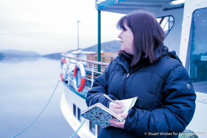 Kirstie Pelling #PoetInMotion seeking inspiration at Lakeside by the Windermere Boats