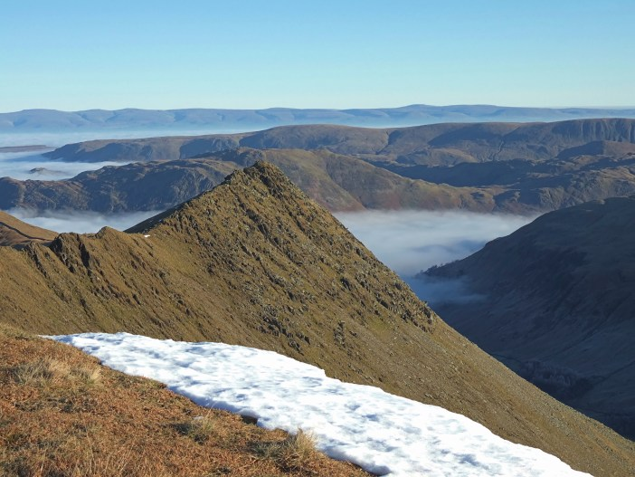 Striding Edge from Helvellyn in the Lake District