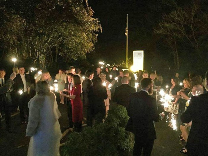 Once the rain cleared guests enjoyed sparklers in front of The Wild Boar