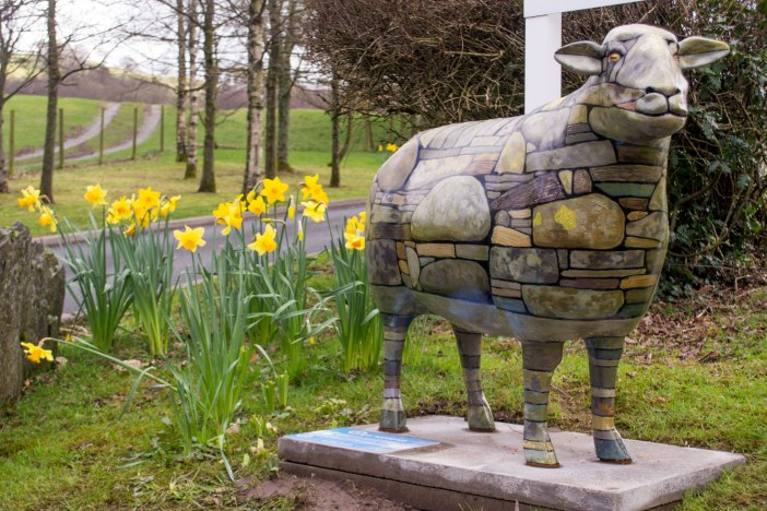 Burly greets hotel guests at the back of Low Wood Bay. He was designed by Lionel Playford and sponsored by Burlington Slate Ltd.