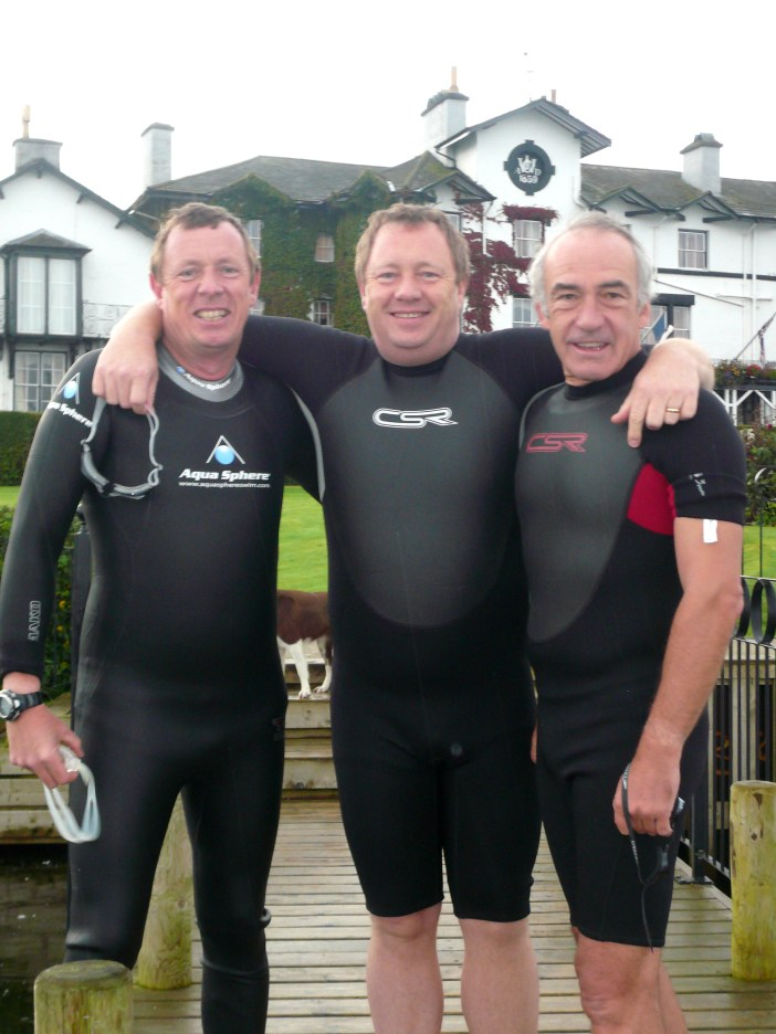 Douglas with Simon and Tim Berry ready for Great North Swim