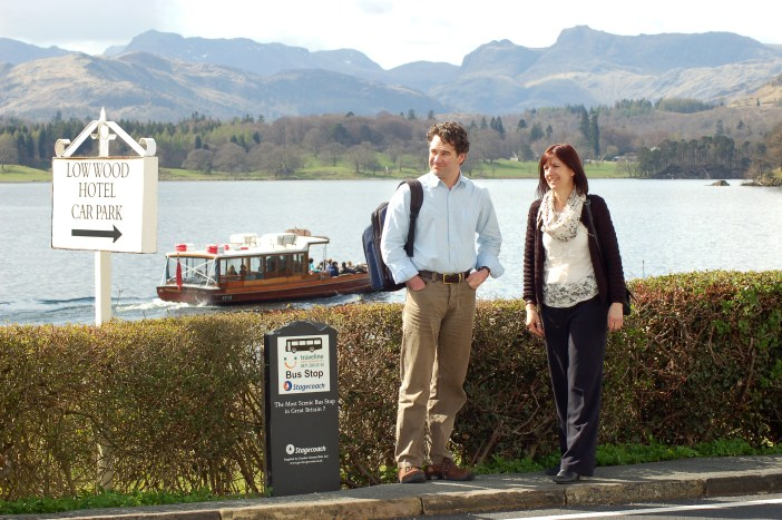 Could this be the most scenic bus stop in Britain? 599 Bus Stop at Low Wood Bay