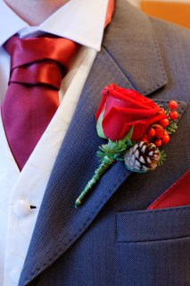 Cravat to matched the colour of the Bridesmaids' dresses