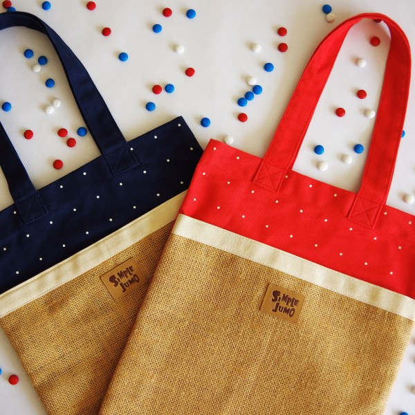 Two Pocket Messenger Bags in Navy and Candy Red Canvase with White Polka Dot Print
