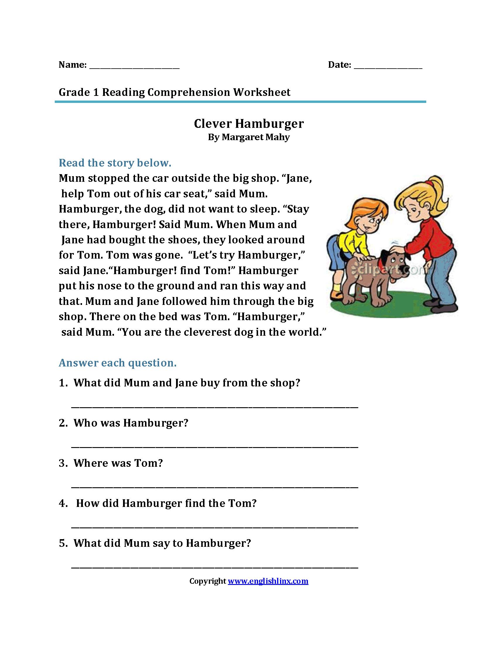 Printables Of 1st Grade Reading Comprehension Passages