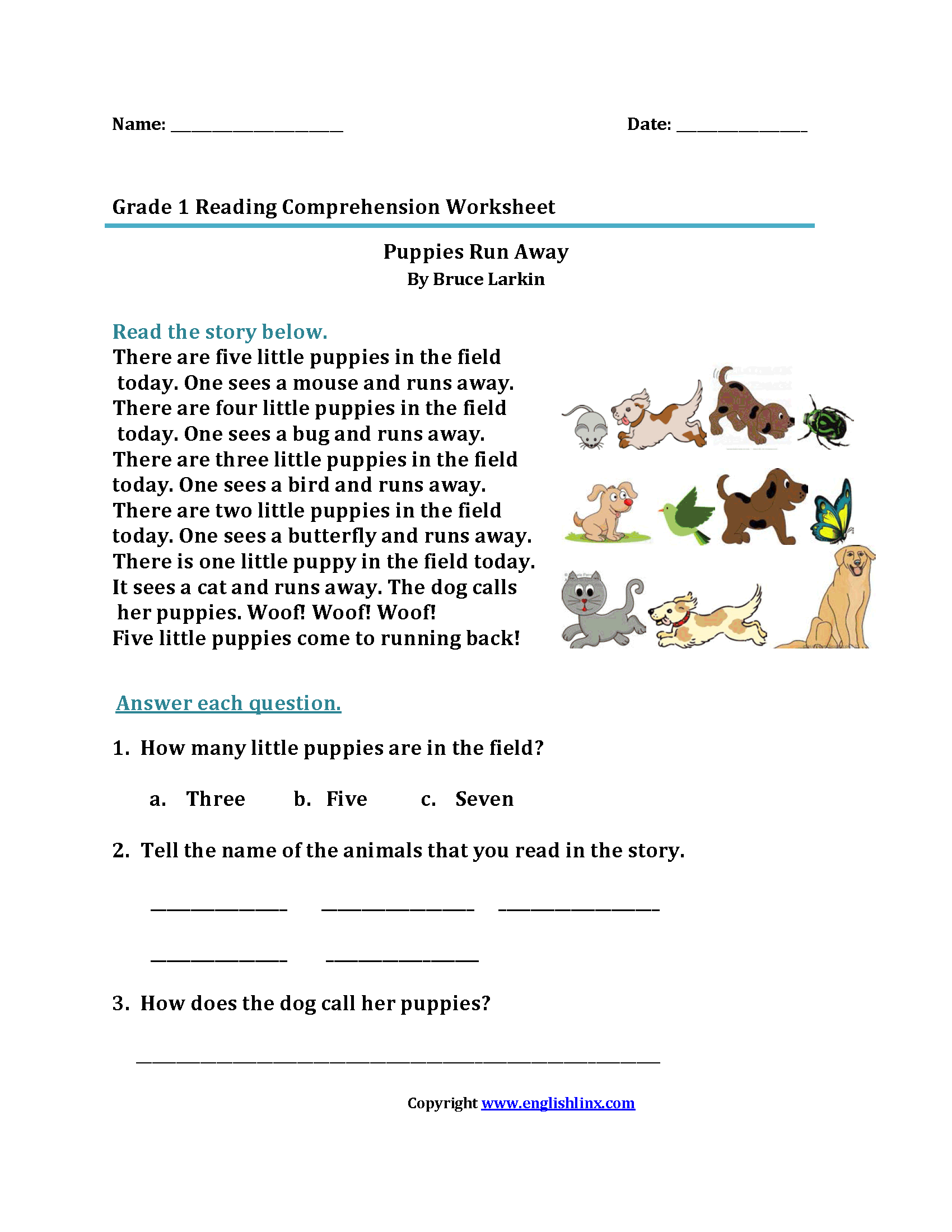 Worksheet Reading Comprehension Worksheets For 1st Grade