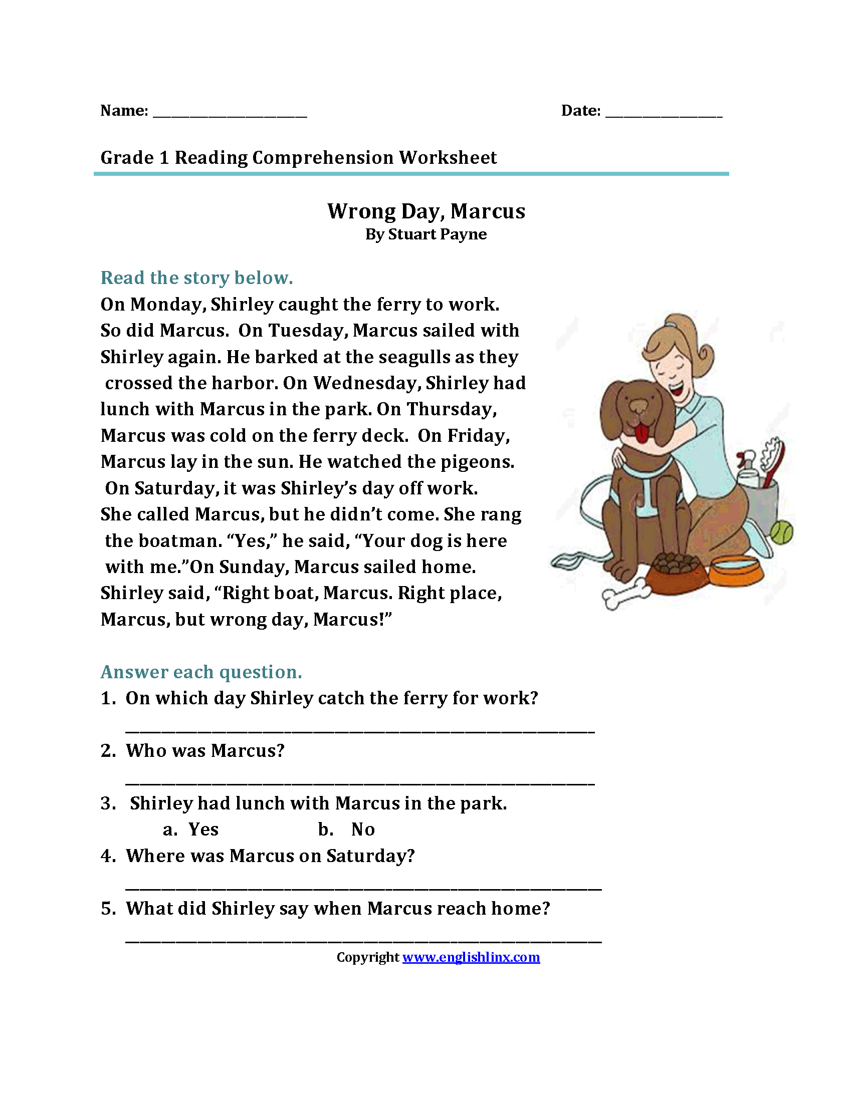 Reading Passage For Grade 1