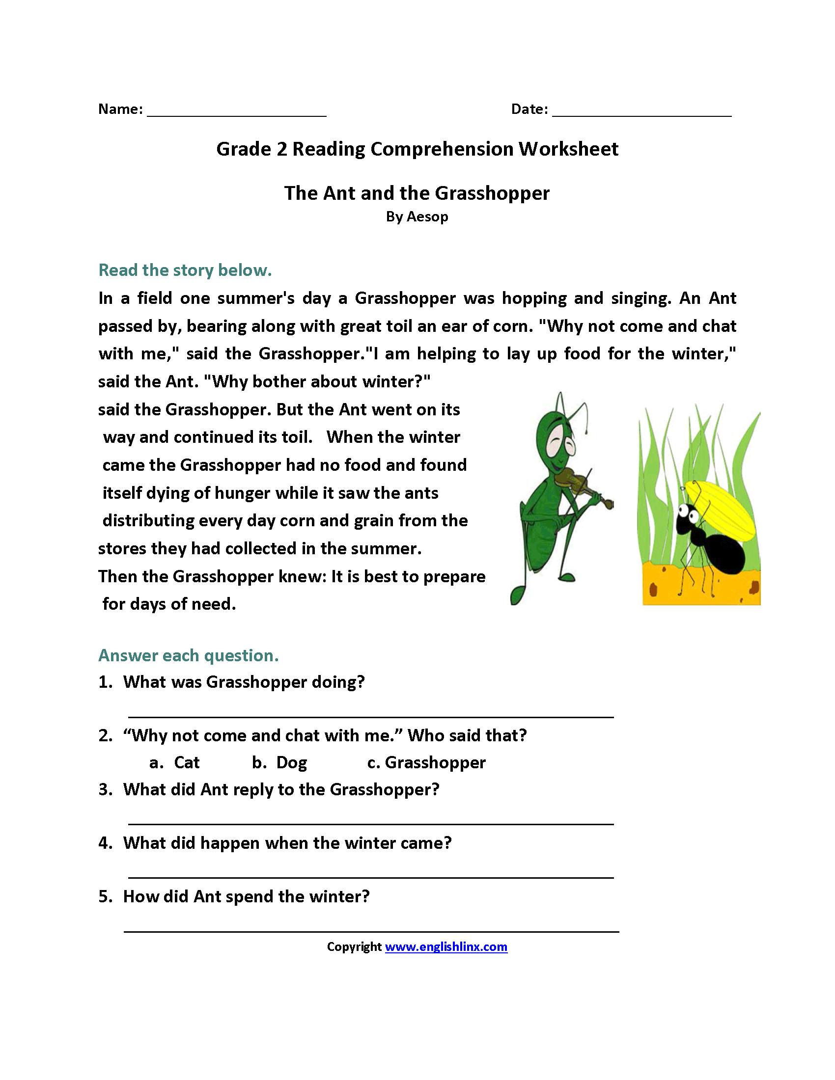 Reading Comprehension Worksheets For 2nd Grade