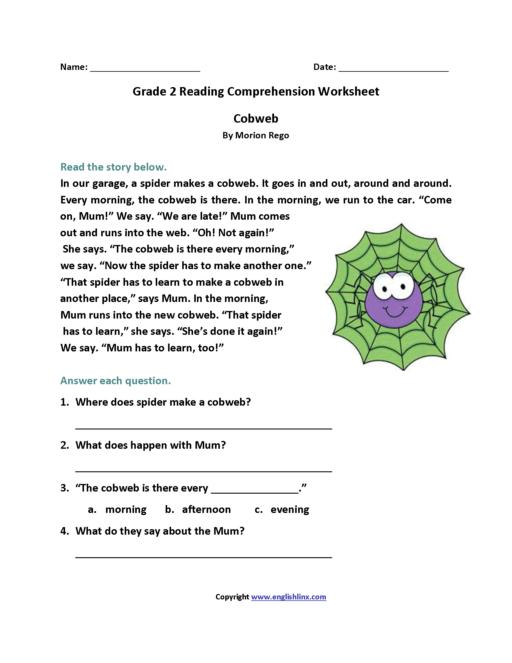 Second Grade Reading Worksheets Multiple Choice