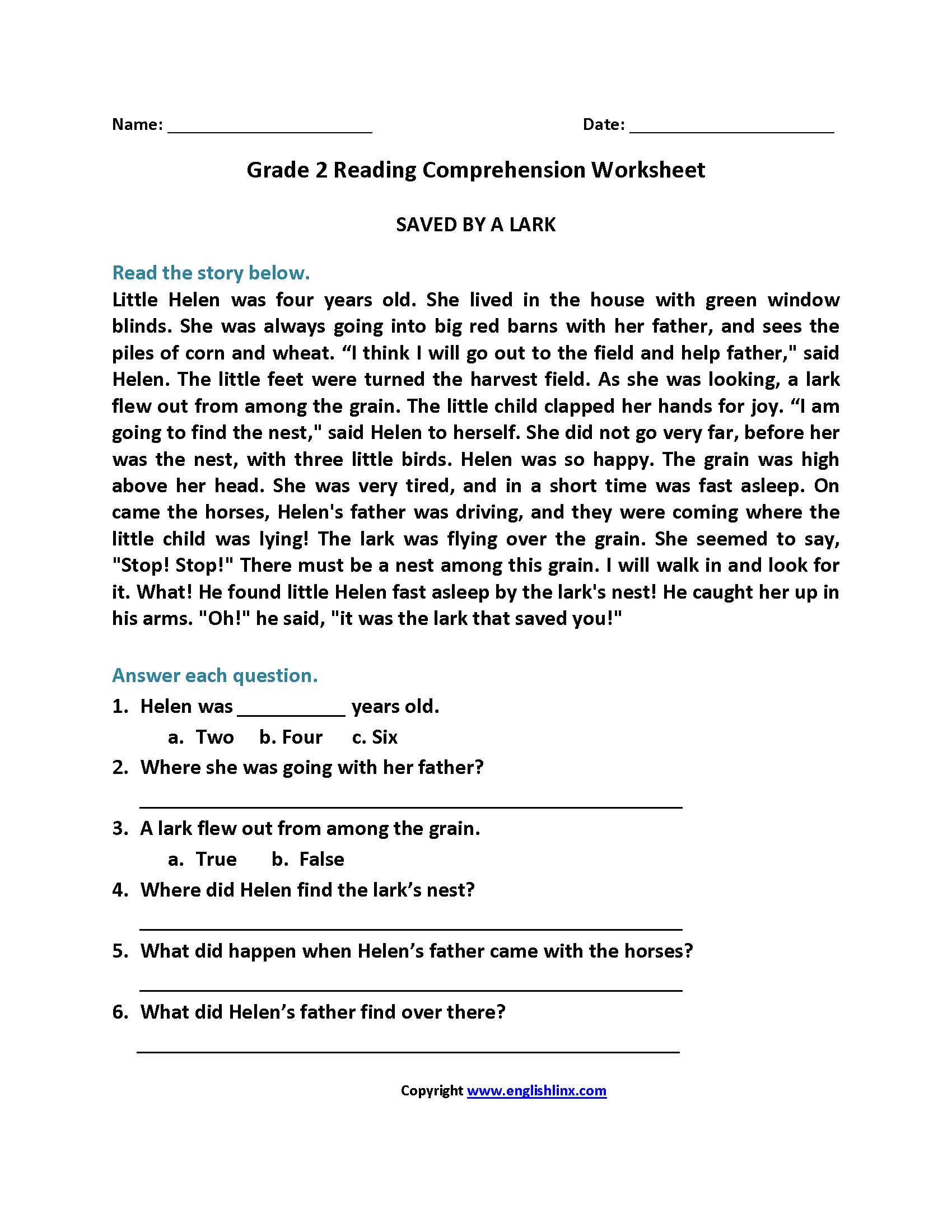 Worksheet Second Grade Reading Comprehension Worksheets