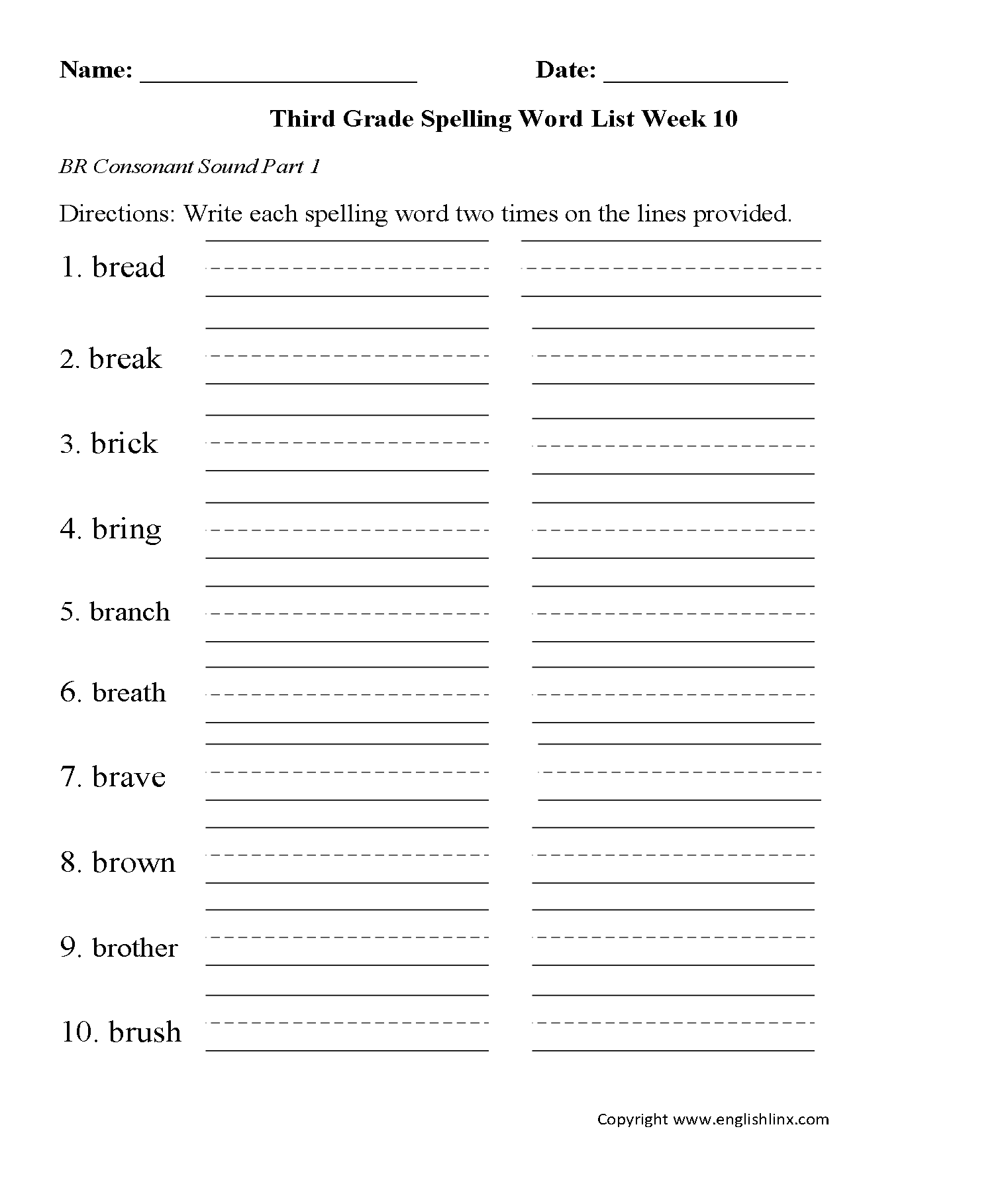 Spelling Worksheets Grade 10