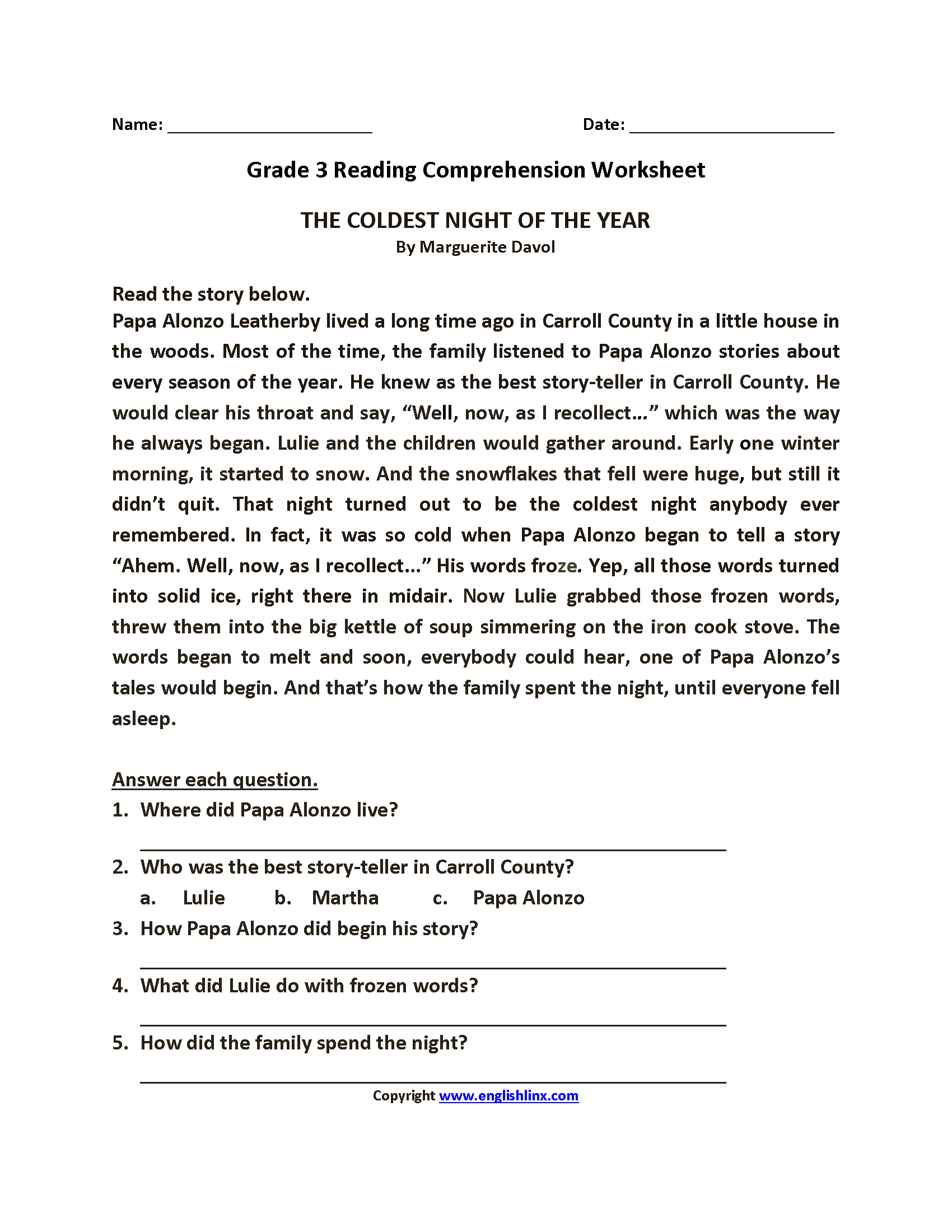 4 Grade Reading Worksheet Homework