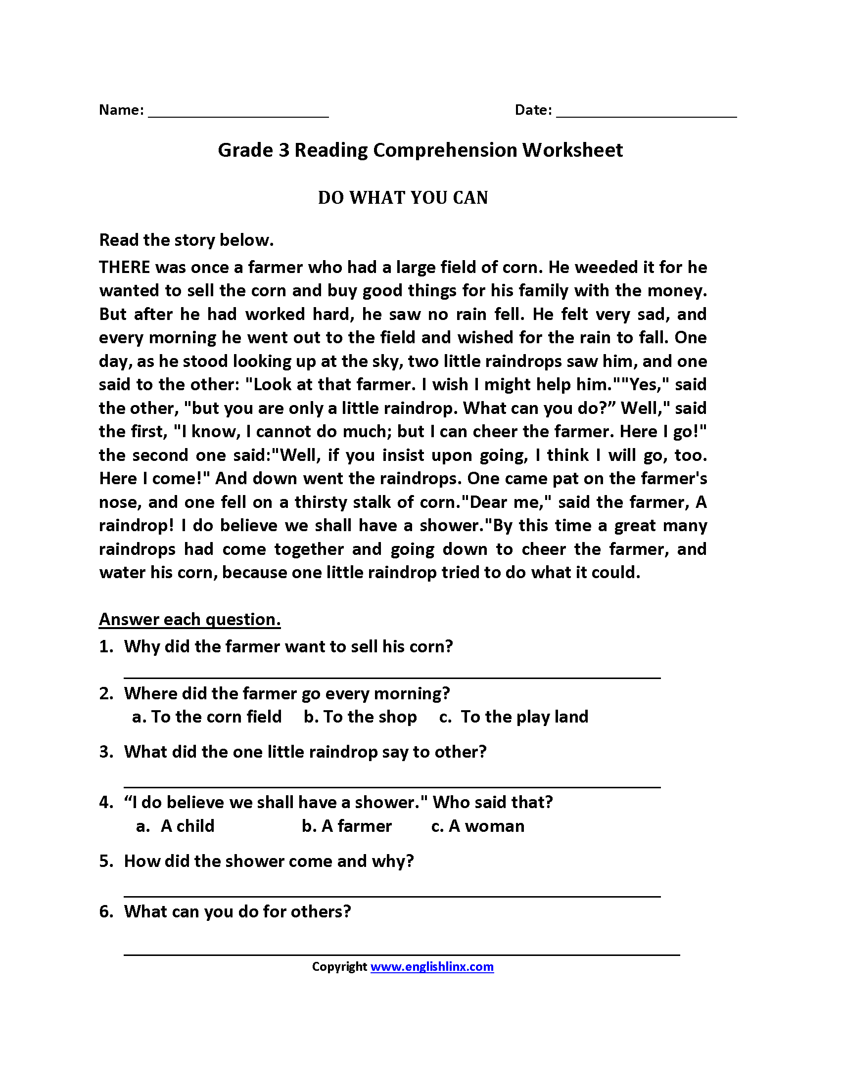 Third Grade Worksheet Printable