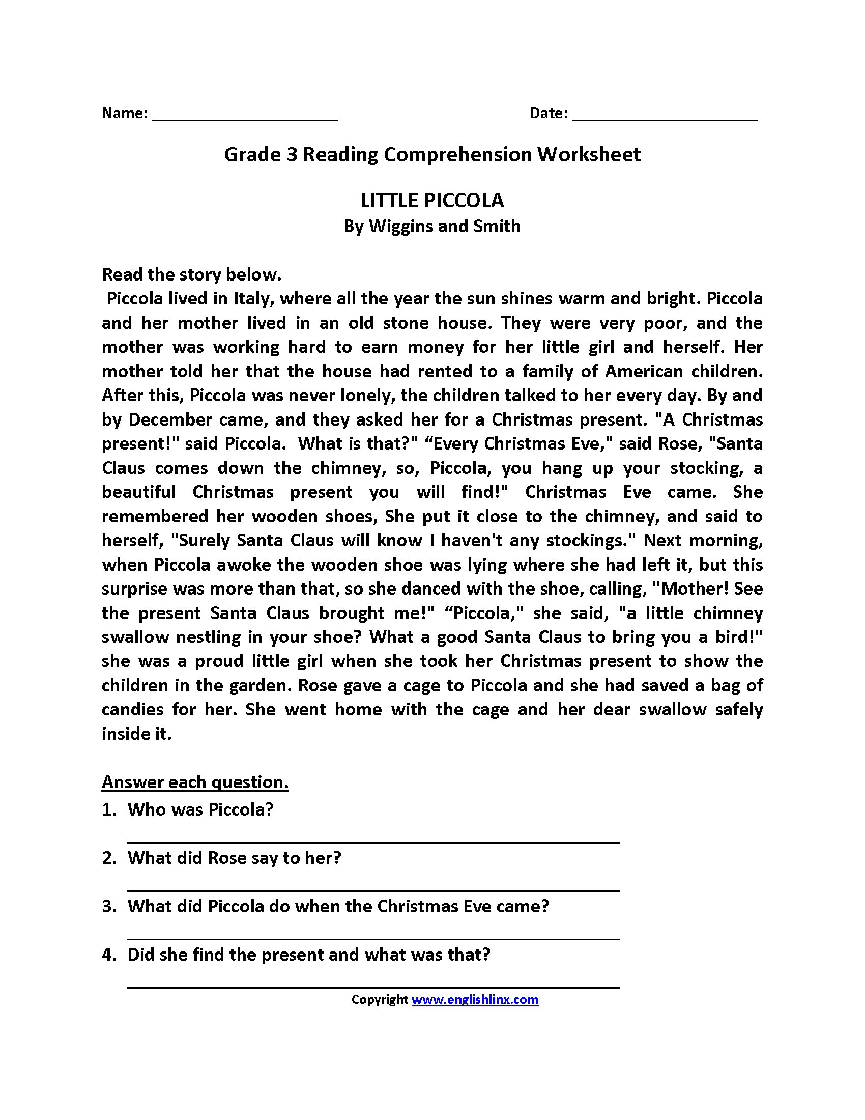 Reading Comprehension Worksheet 3rd Grade