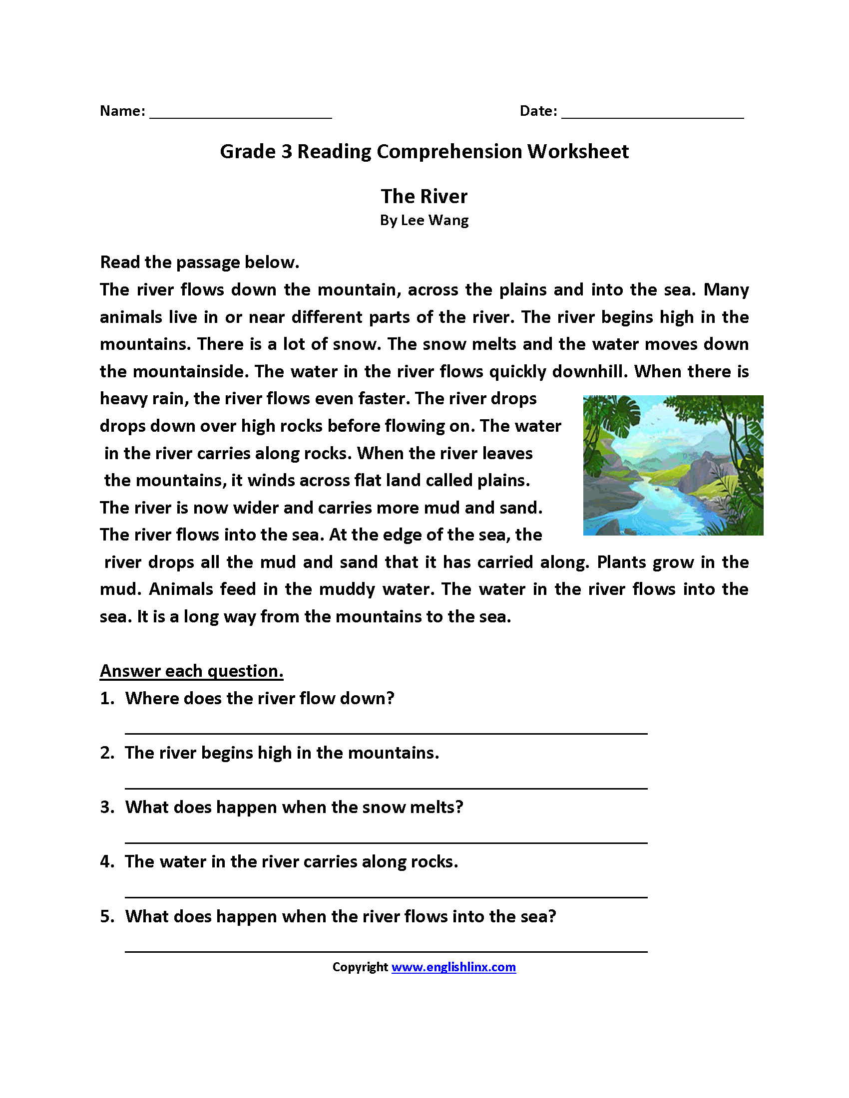 Reading Comprehension Worksheet For 3rd Grade Printable
