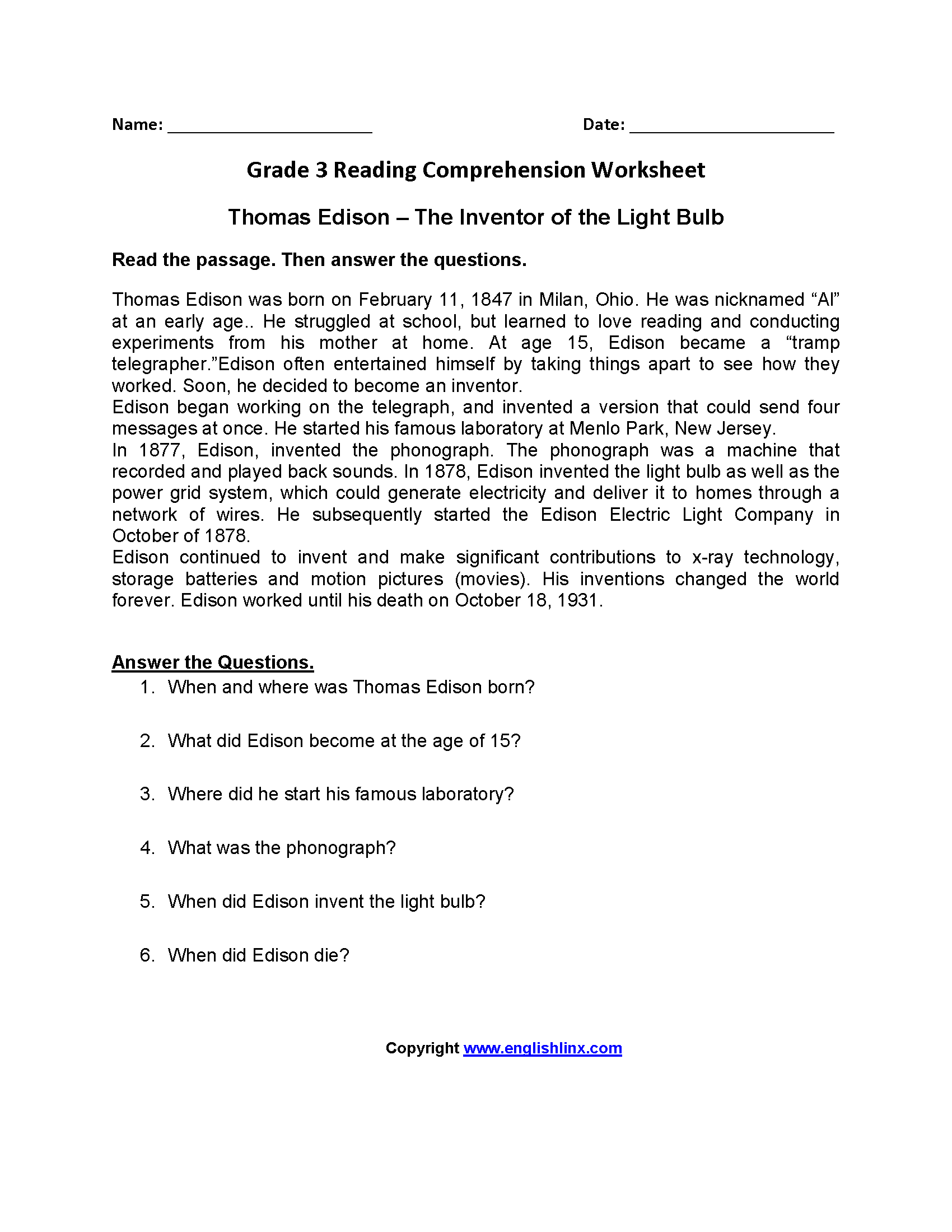 3rd Grade Reading Comprehension Worksheets