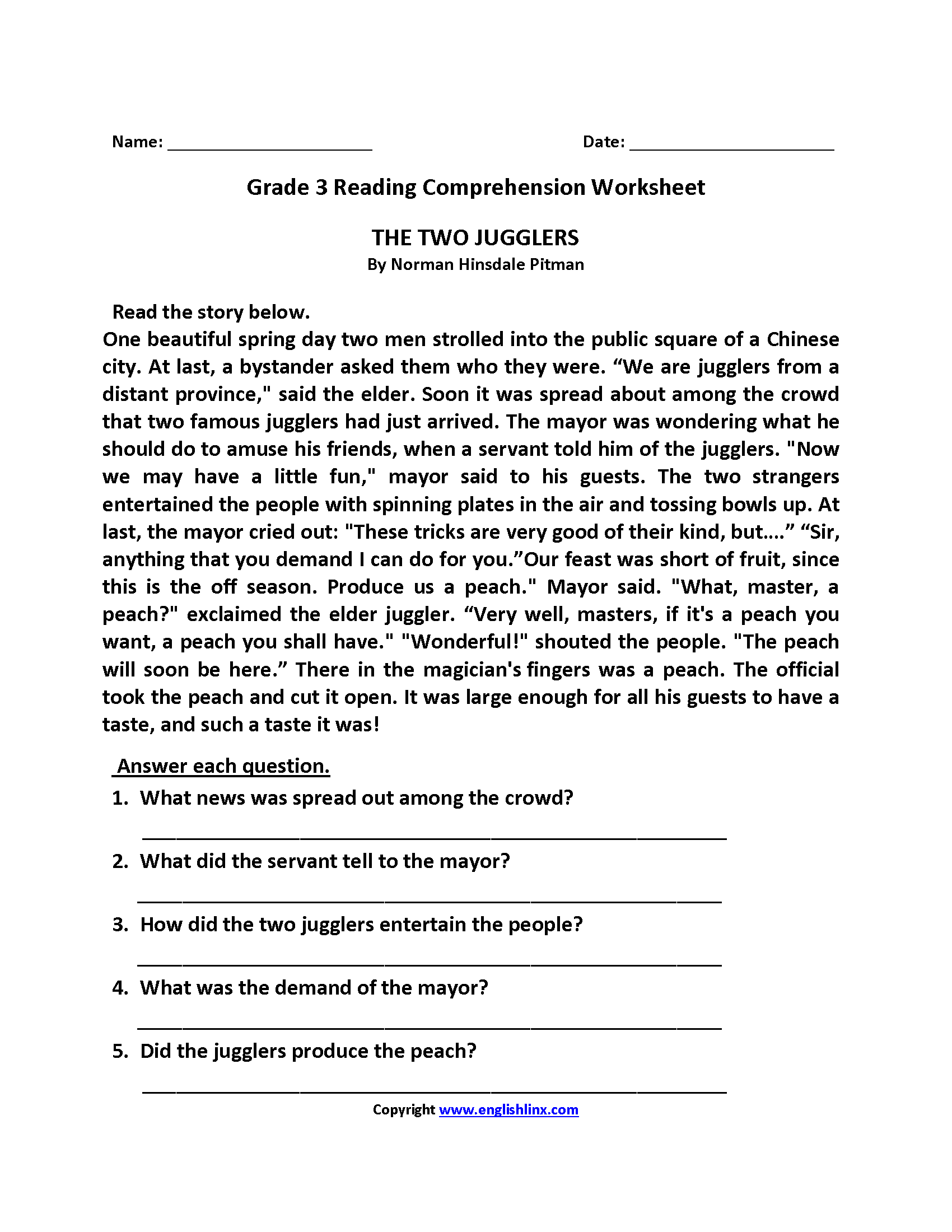 Reading Summary Worksheet 3rd Grade