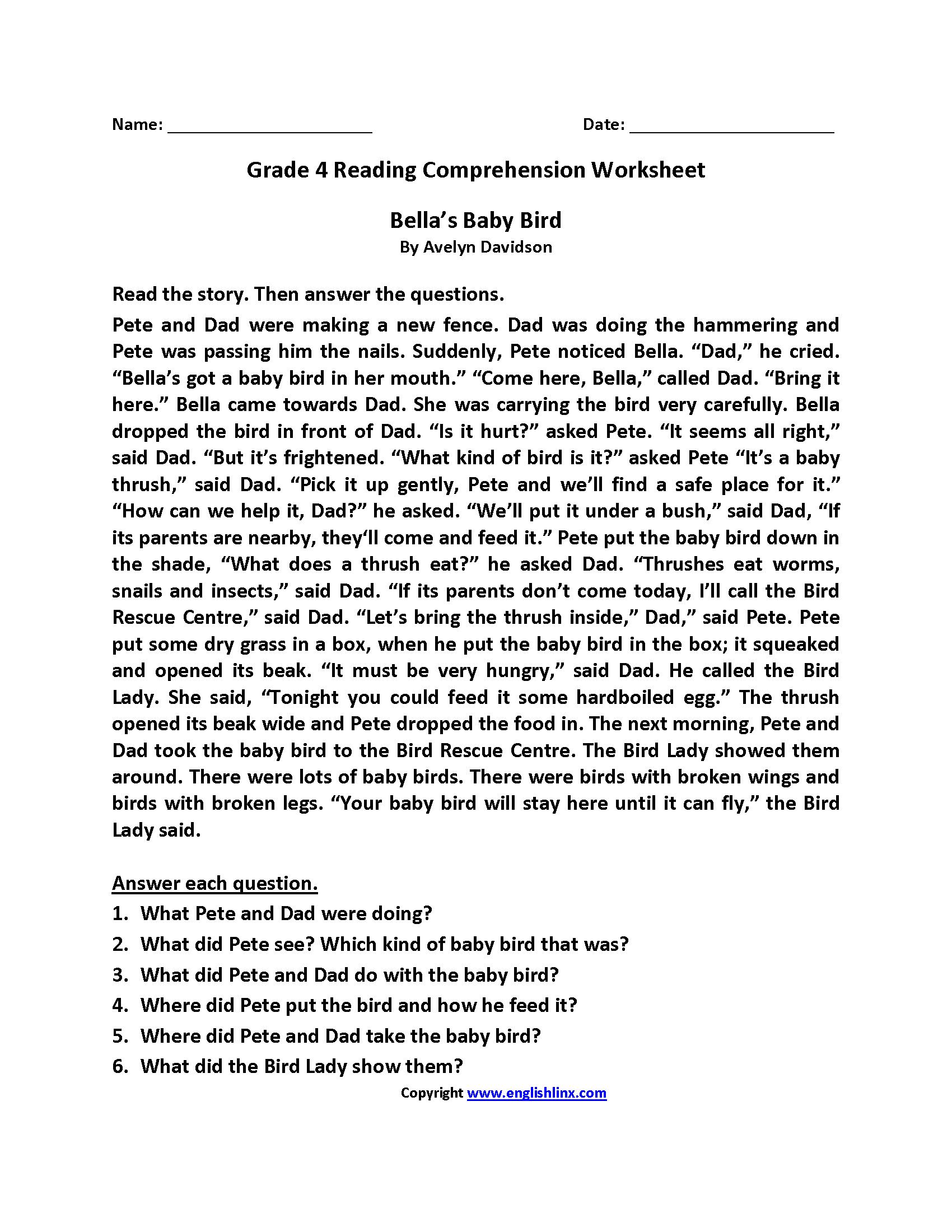 Year 4 Reading Comprehension Worksheet
