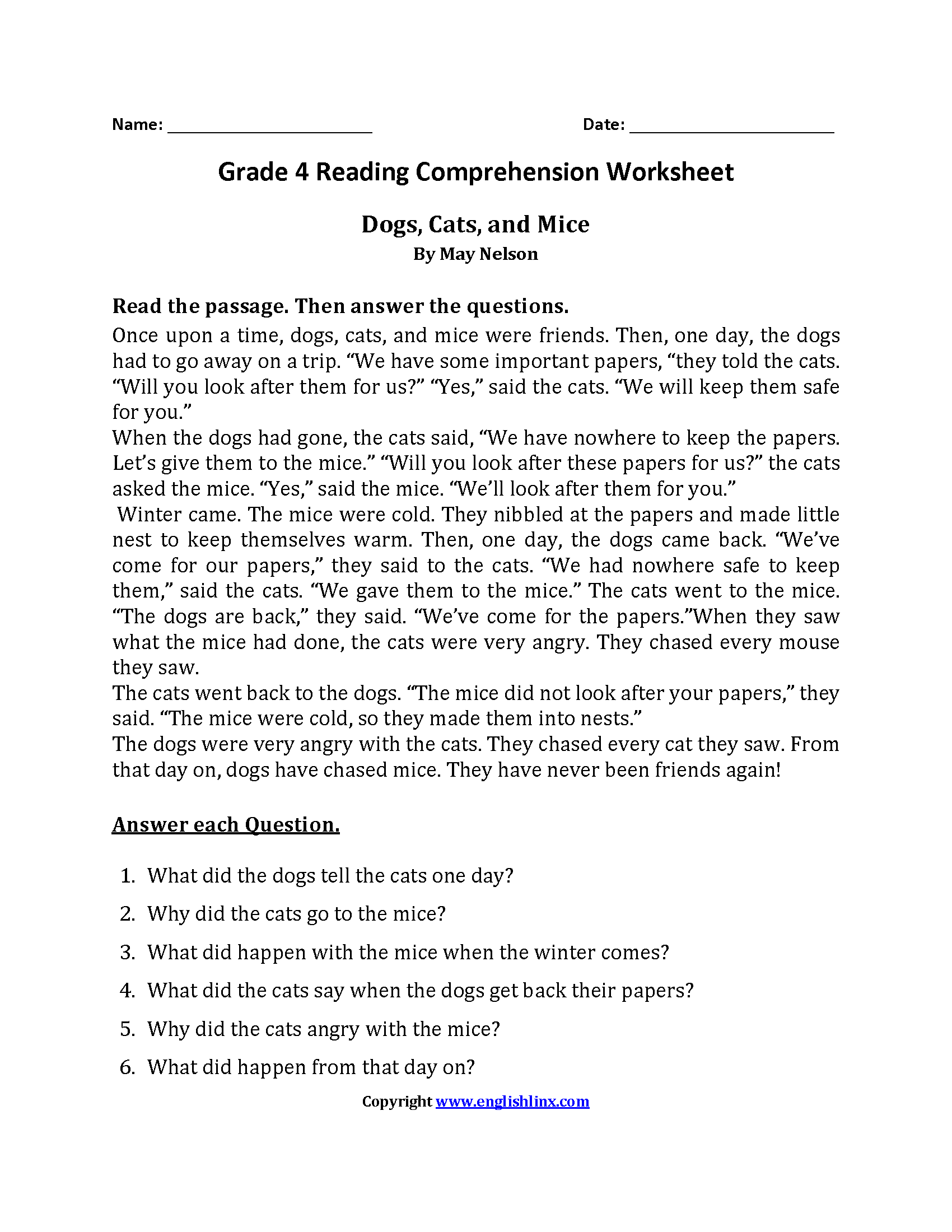 Reading Worksheets