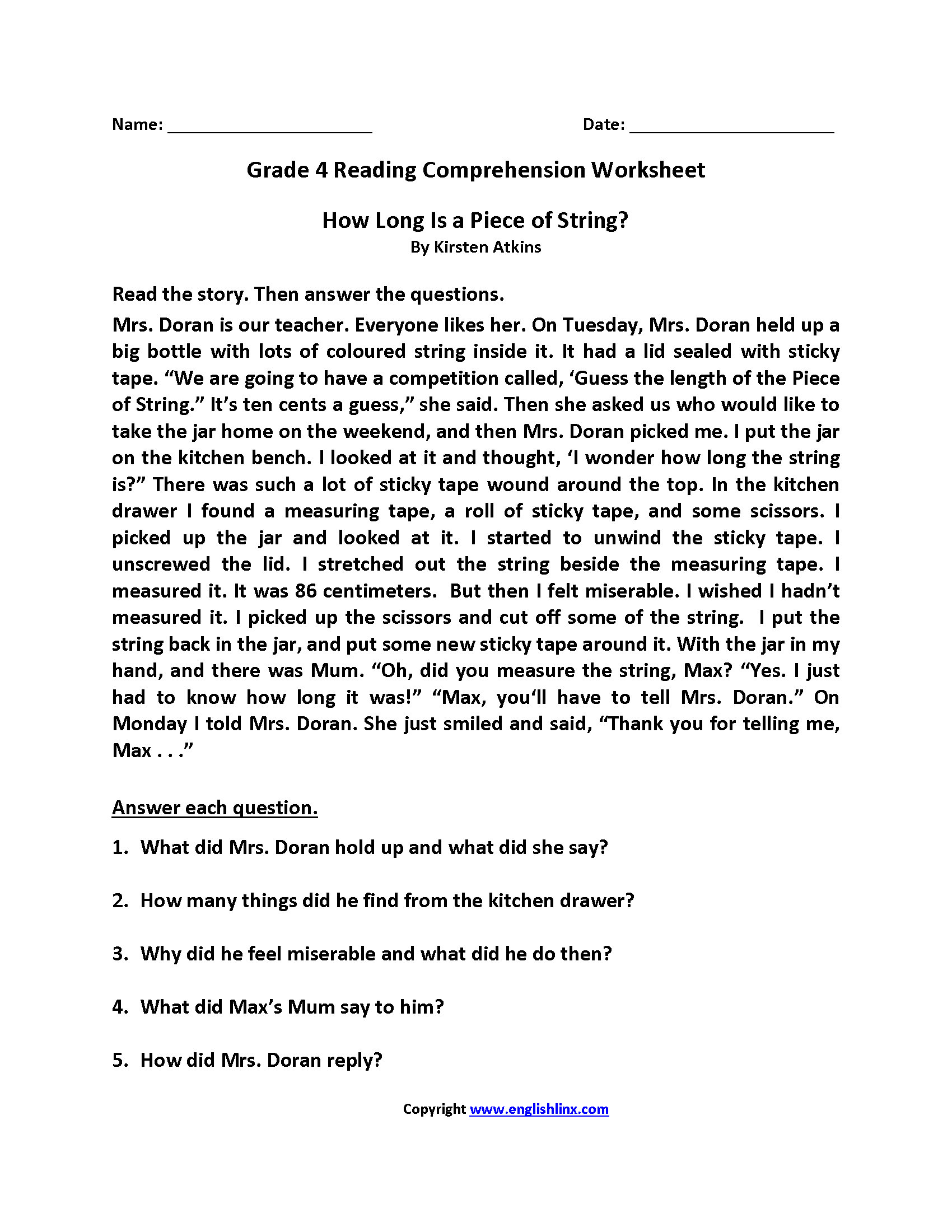 Worksheet 4th Grade Reading Comprehension Worksheet