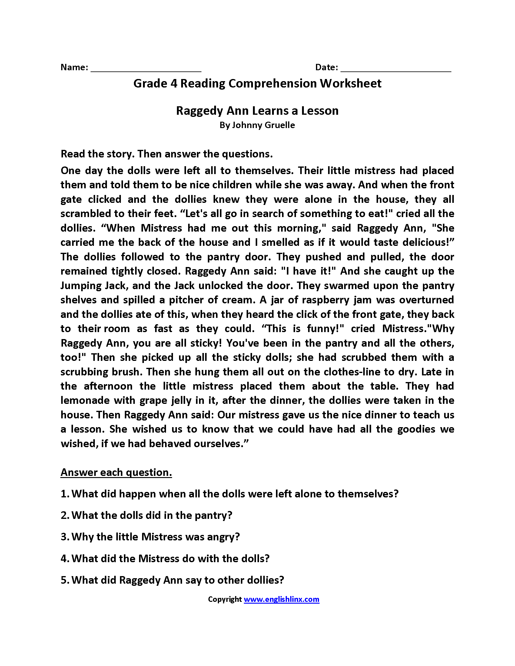 Worksheet 4th Grade Reading Worksheets Worksheet Fun