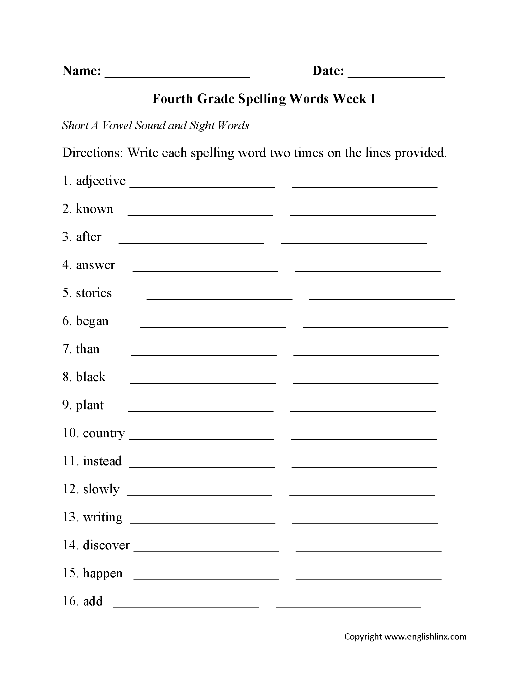 Printables Of Spelling Worksheets Year 4