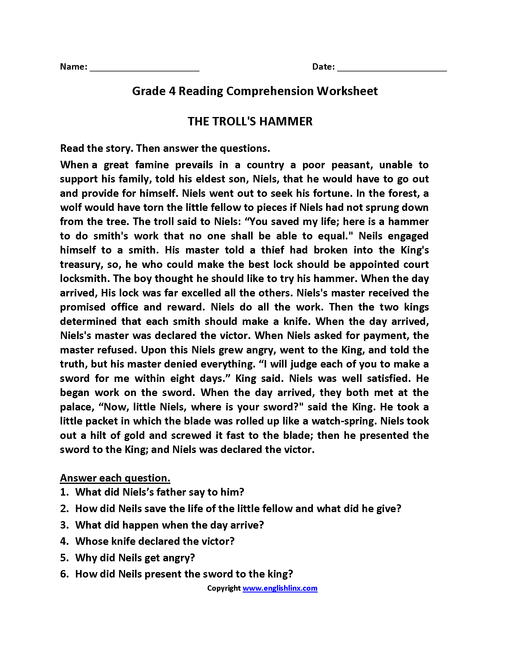 Year 4 Reading Prehension Worksheet
