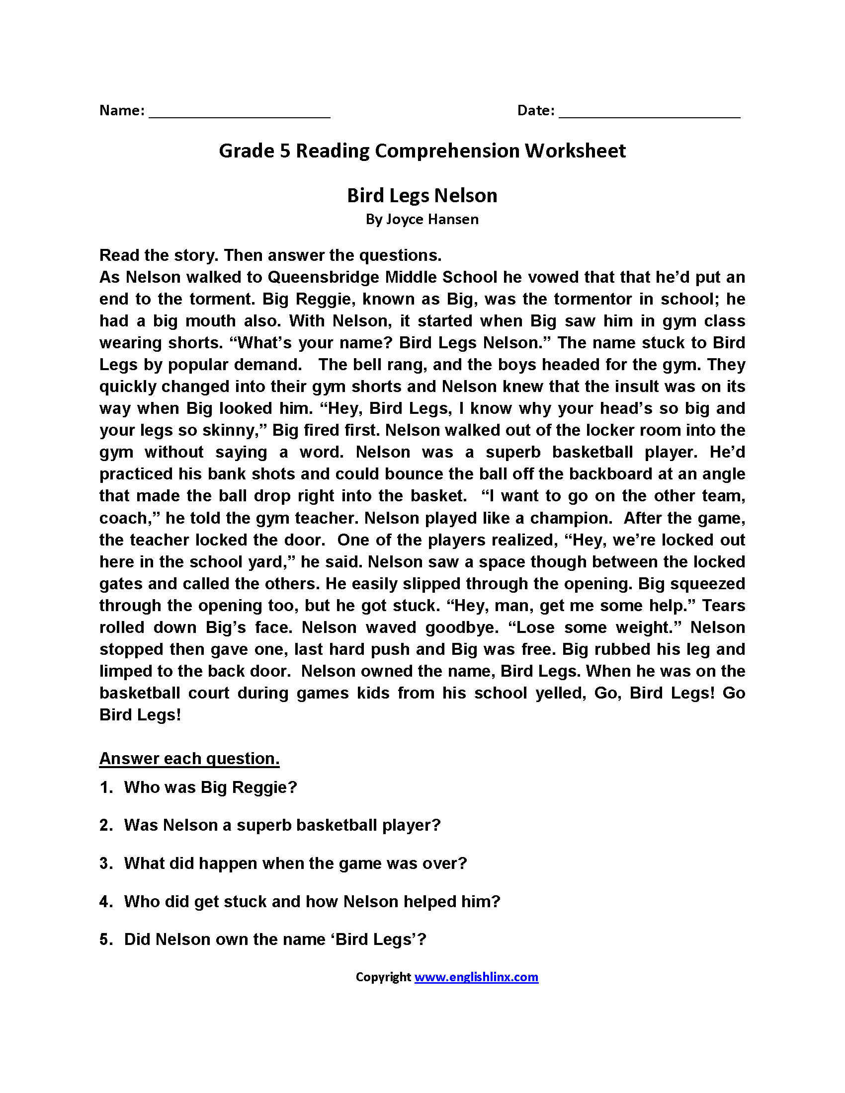 Printables Of Reading Passages For Fifth Grade