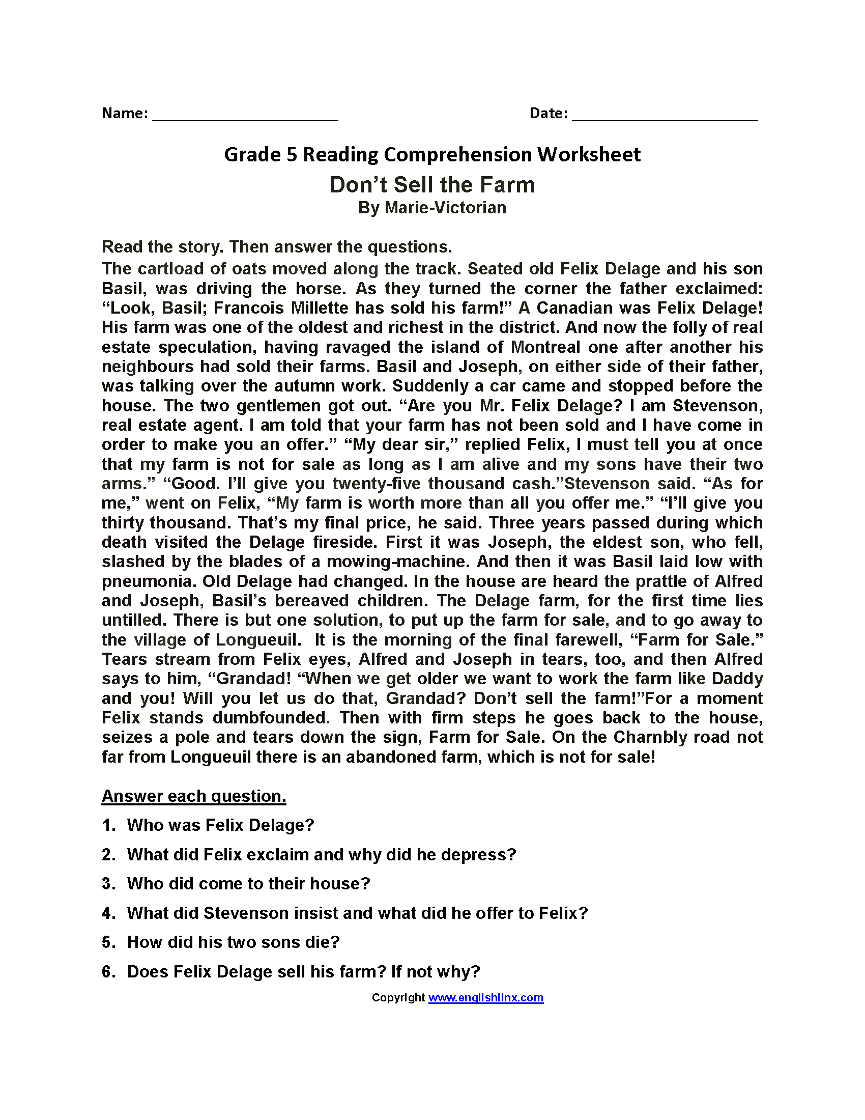 Homework Worksheets For 5th Graders