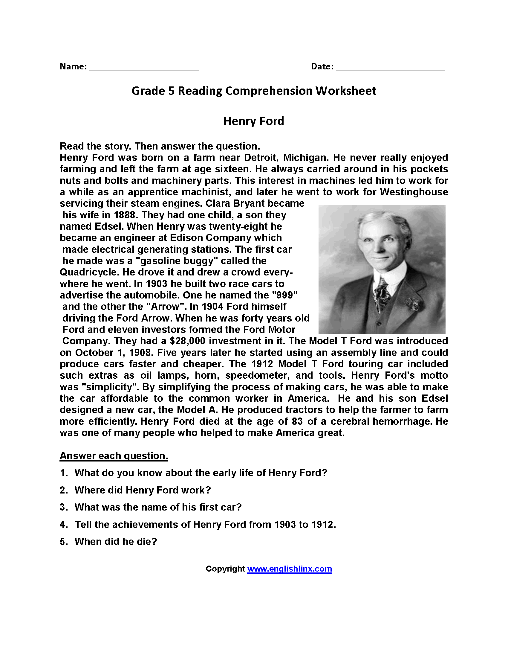 Worksheet Reading Comprehension 5th Grade