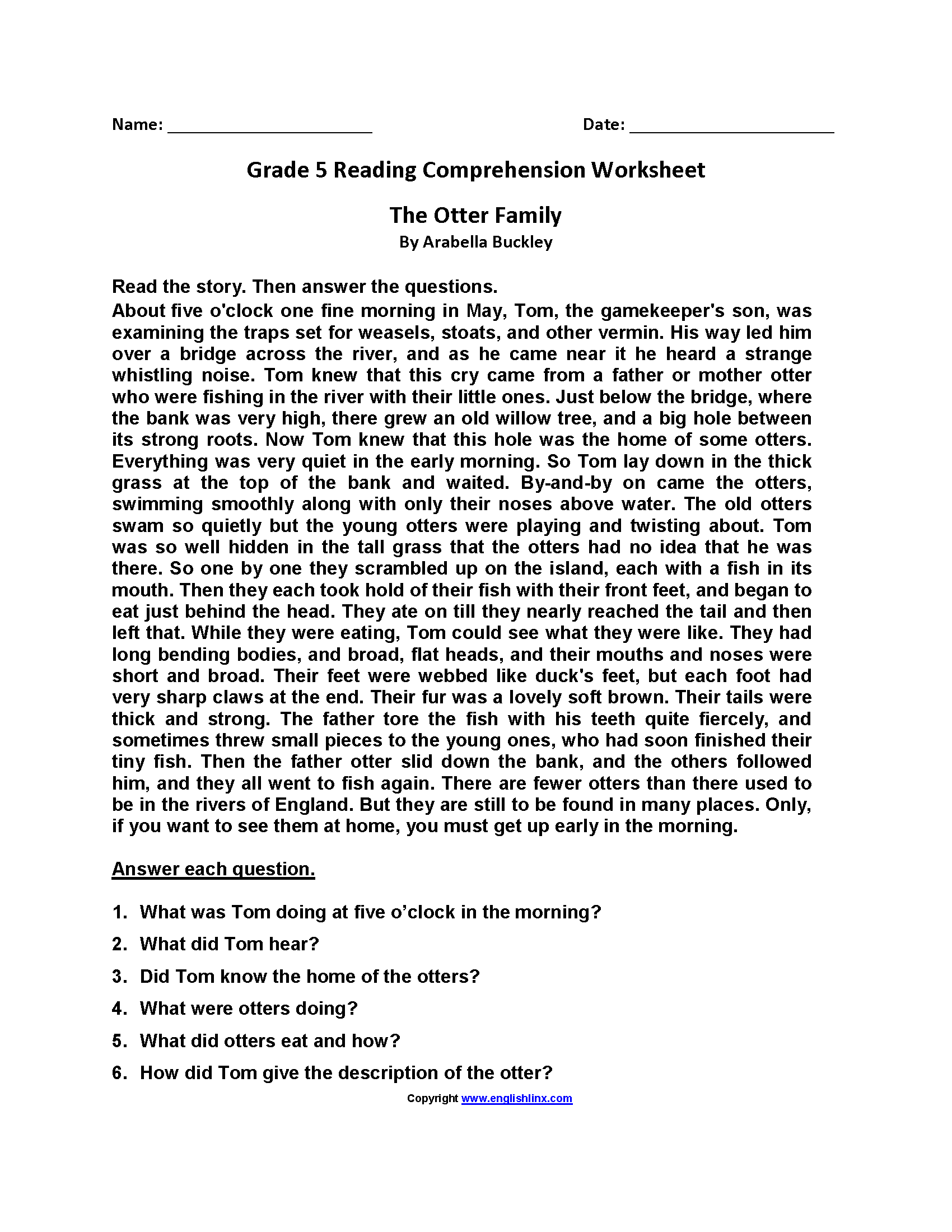 Worksheet Comprehension Worksheets For Grade 5 Worksheet