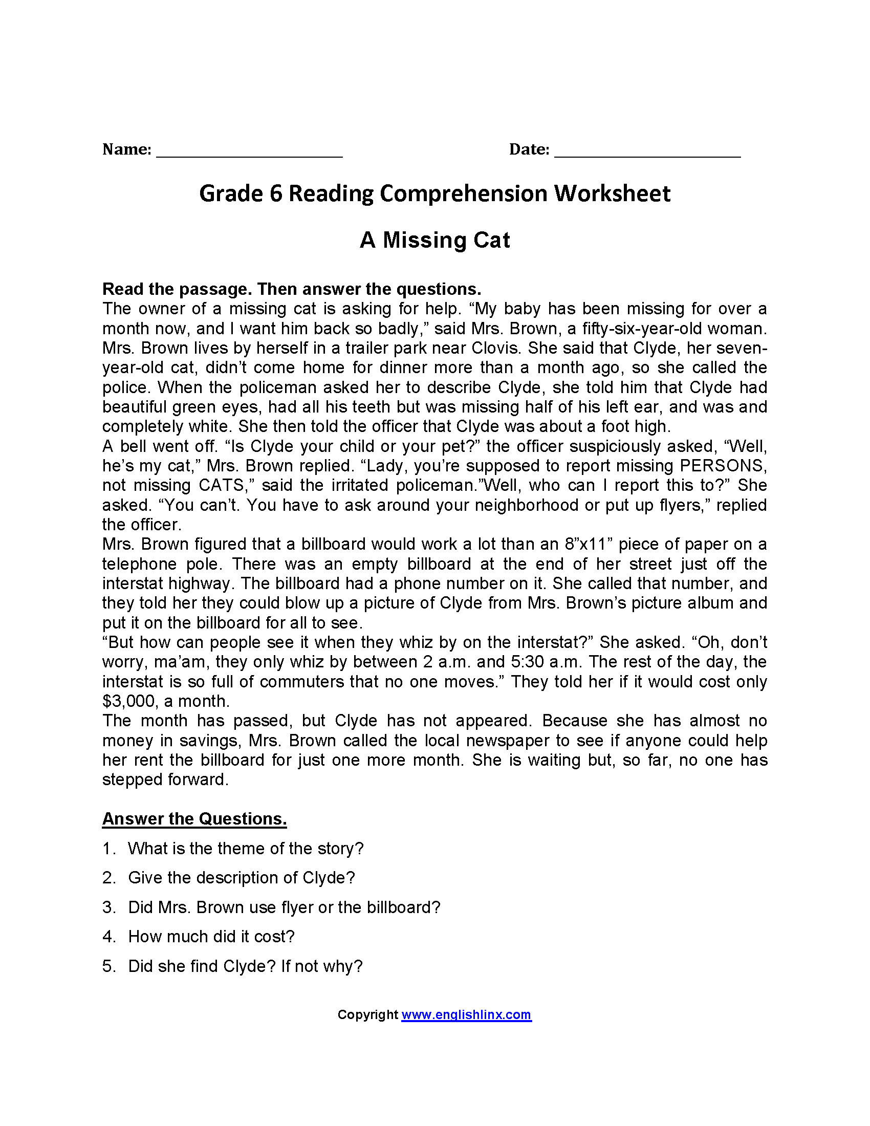 Worksheet Reading Comprehension Worksheets 6th Grade