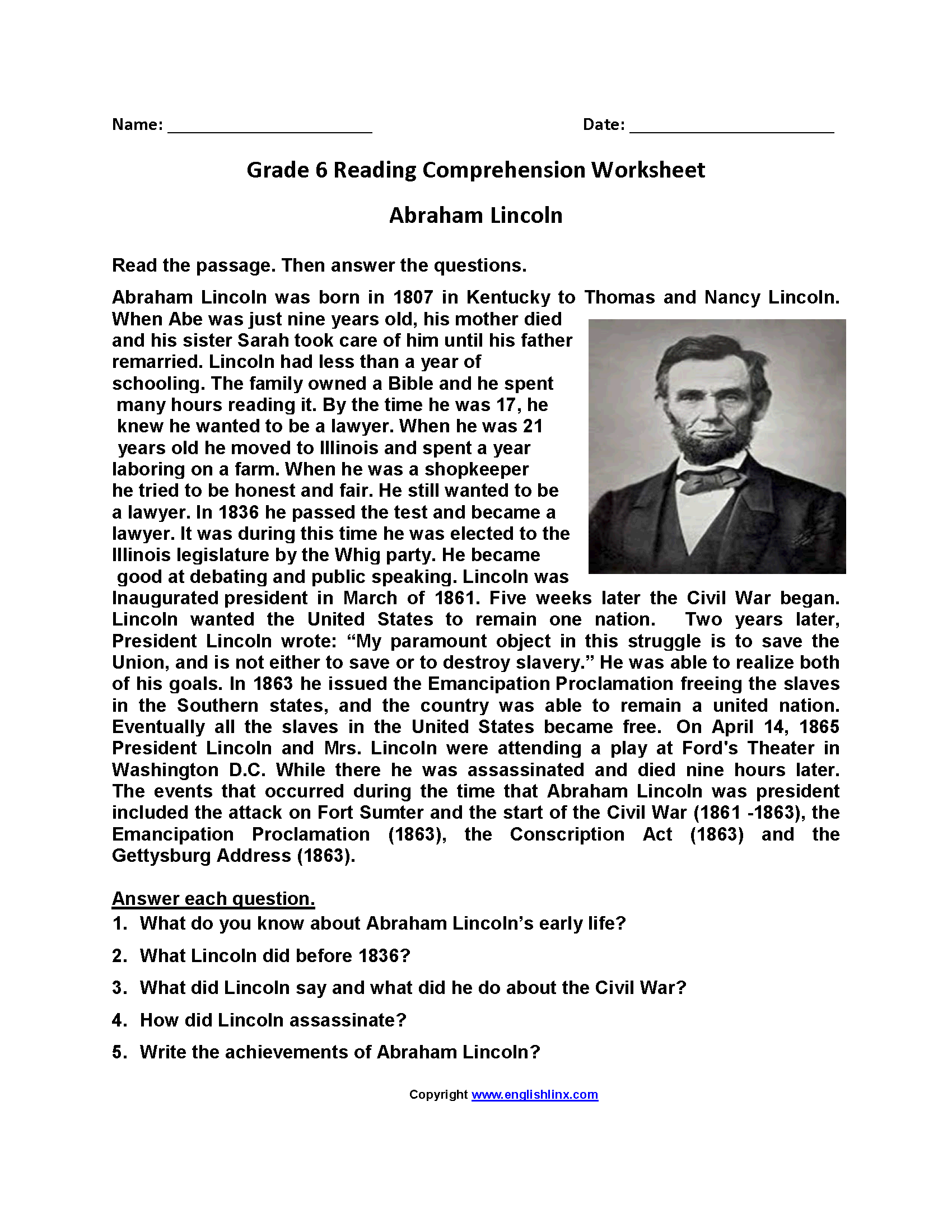 Ahm Lincoln Fourth Grade Reading Worksheets Ahm Best