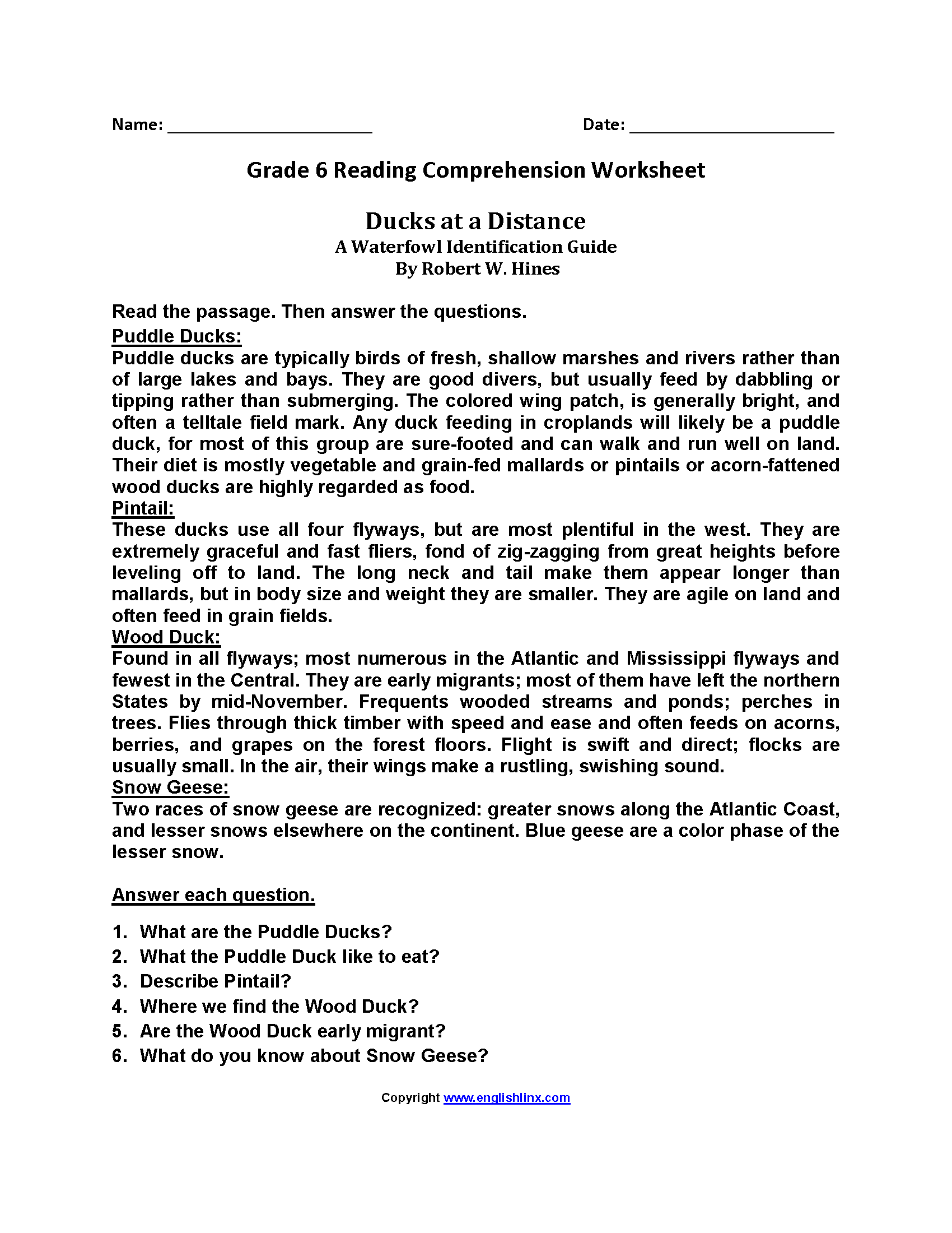 Printables Of Comprehension For Grade 6 With Questions