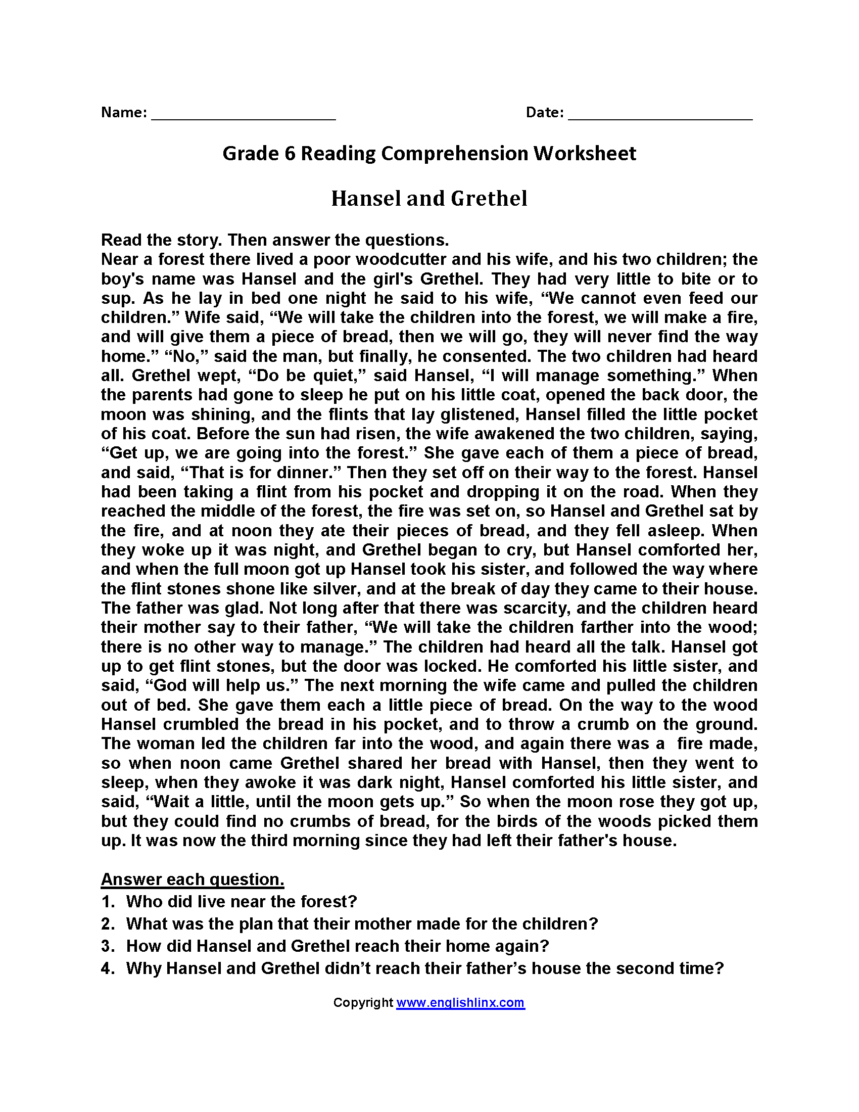 Comprehension For Grade 6 With Questions