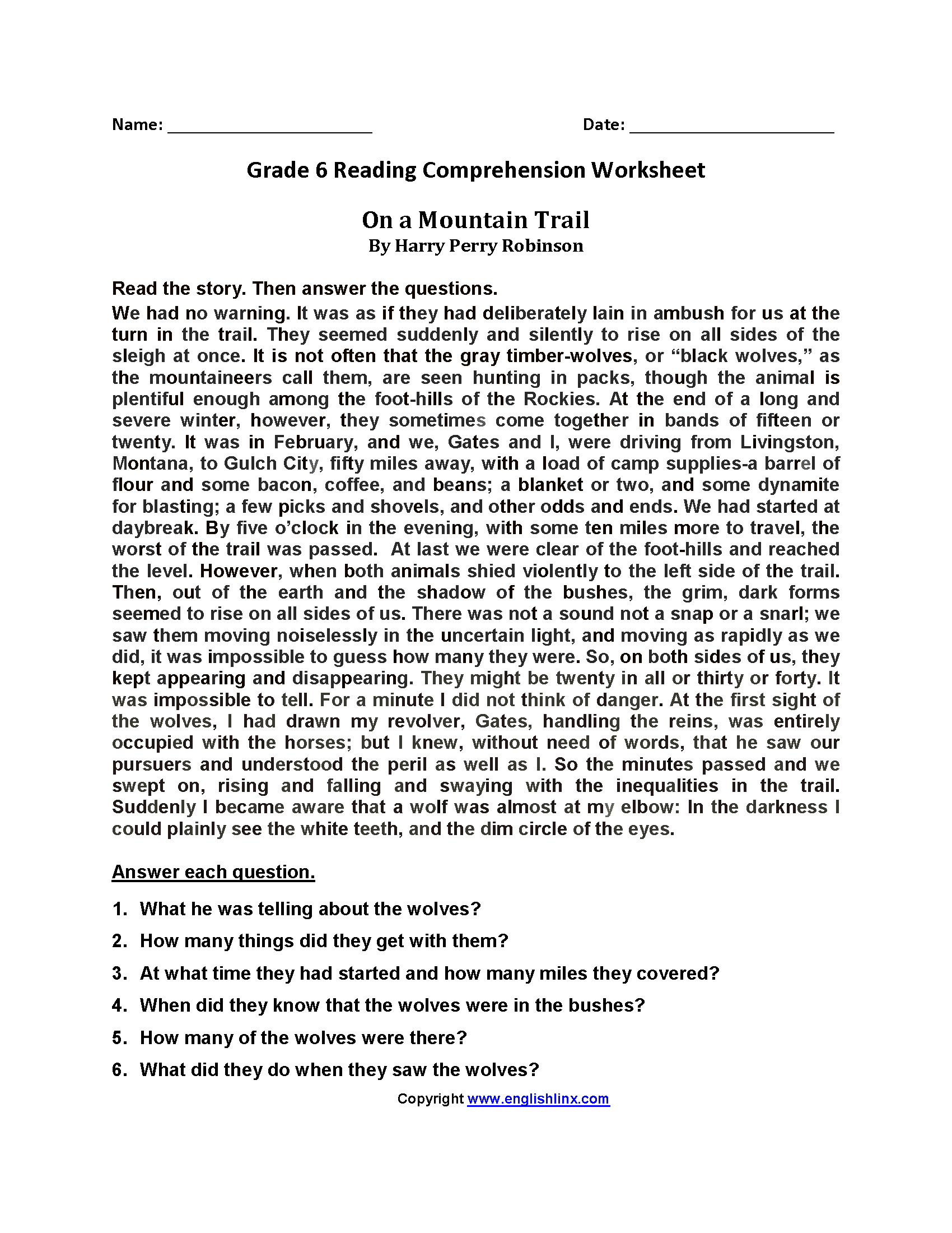 Worksheet 6th Grade Reading Comprehension Worksheets