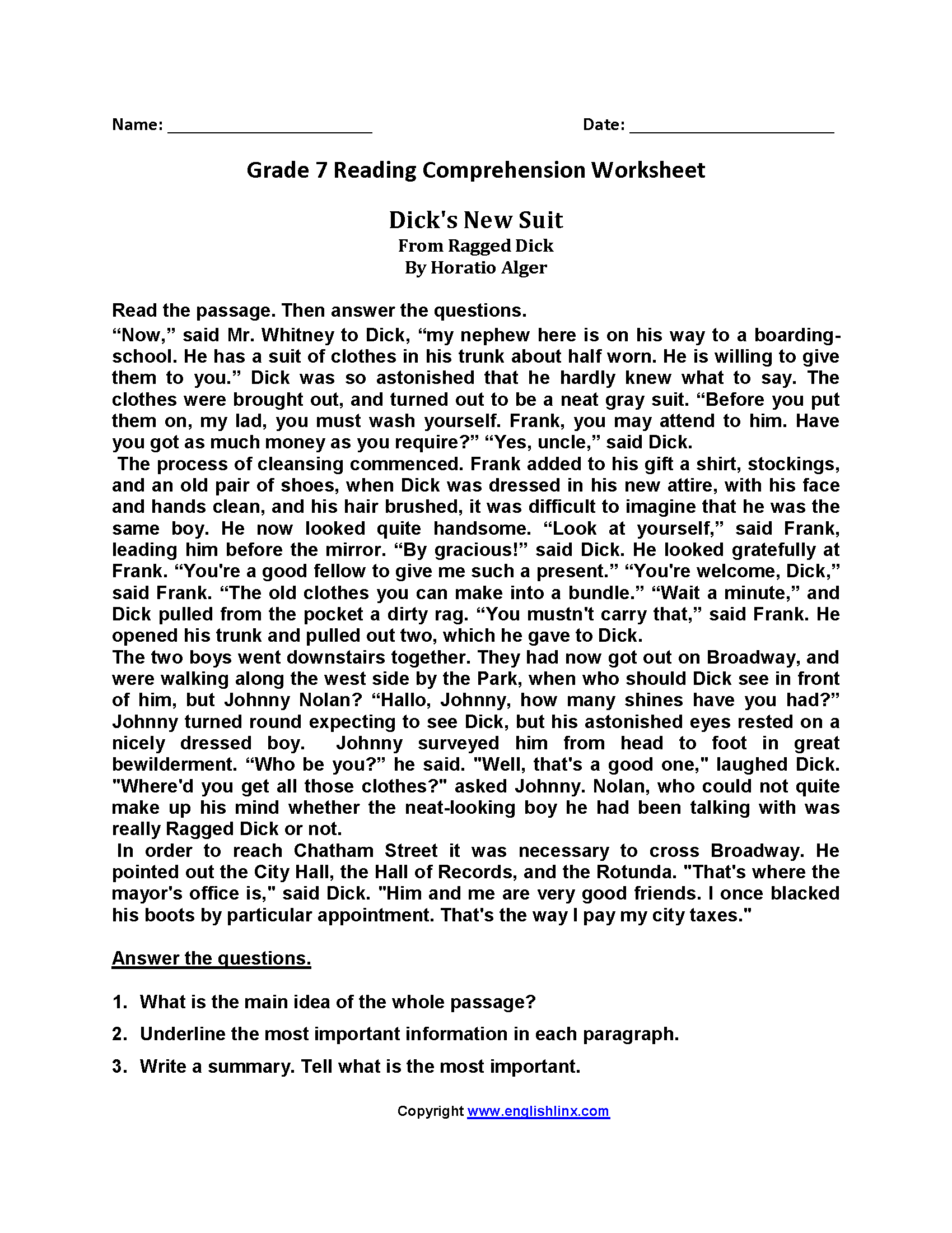Worksheet Reading Worksheets For 7th Grade Grass Fedjp