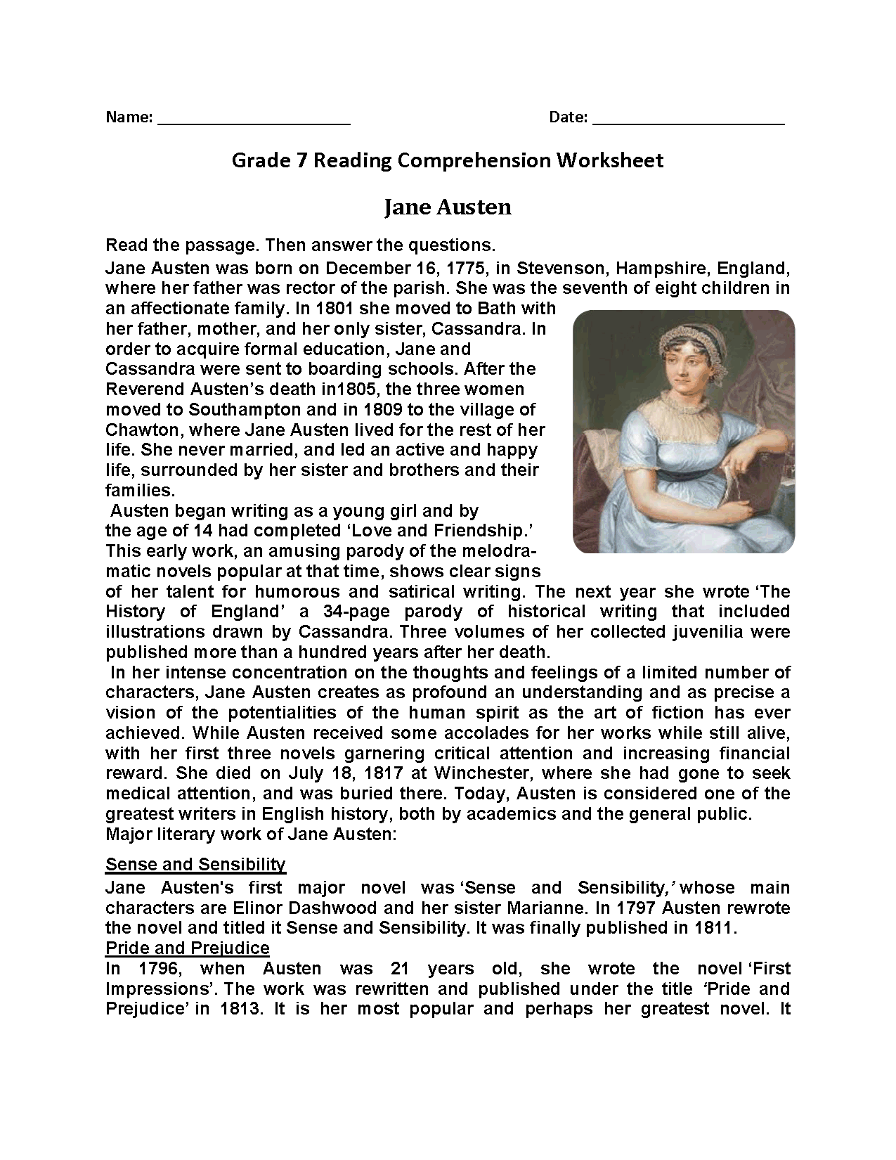 7th Grader Grade 7 Reading Comprehension Worksheets