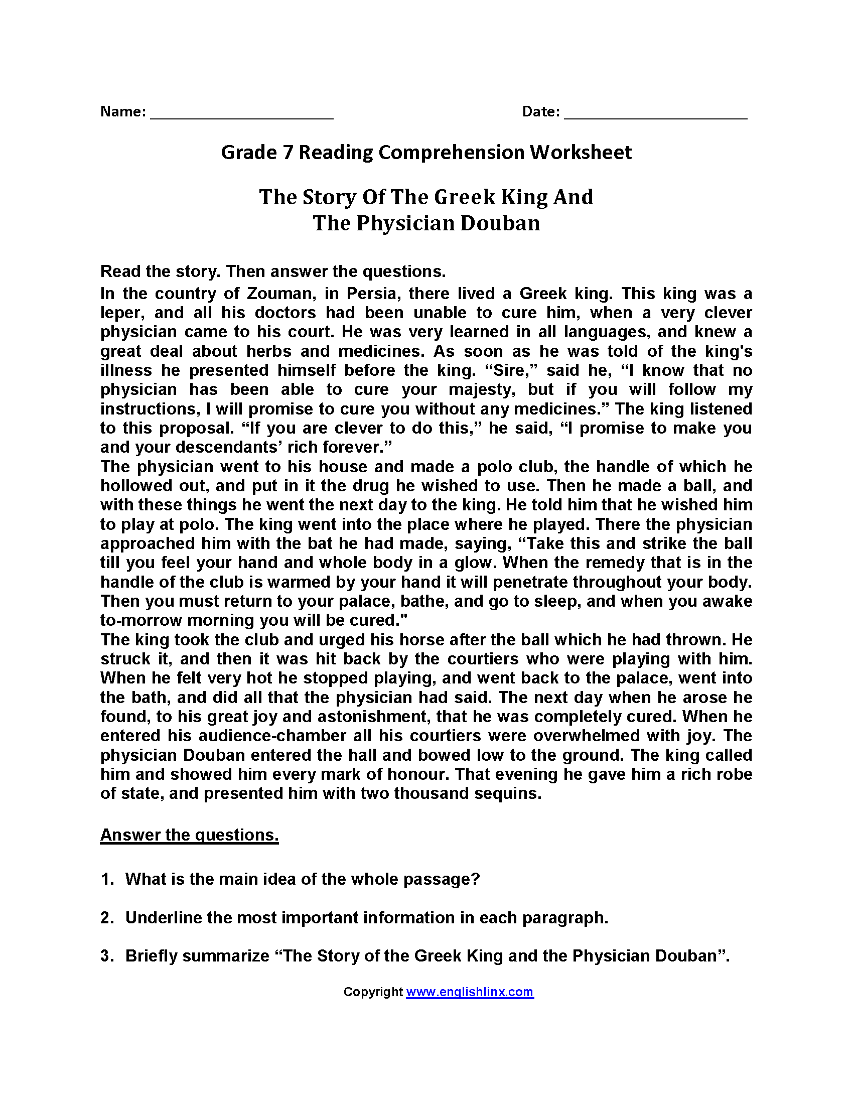 Reading Comprehension Worksheets 7th Grade Multiple Choice