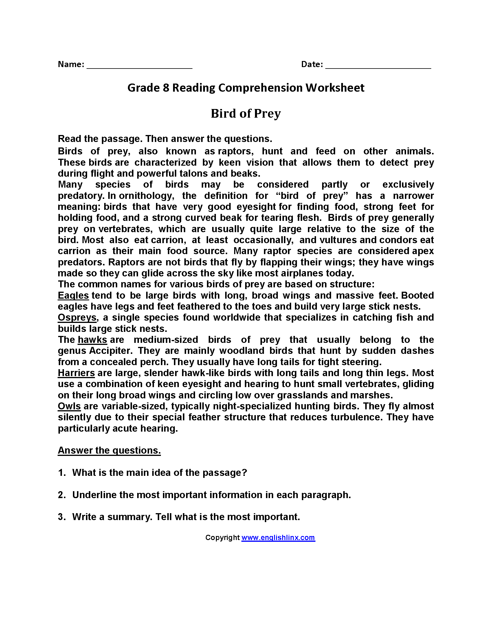 Worksheet Reading Comprehension Grade 8