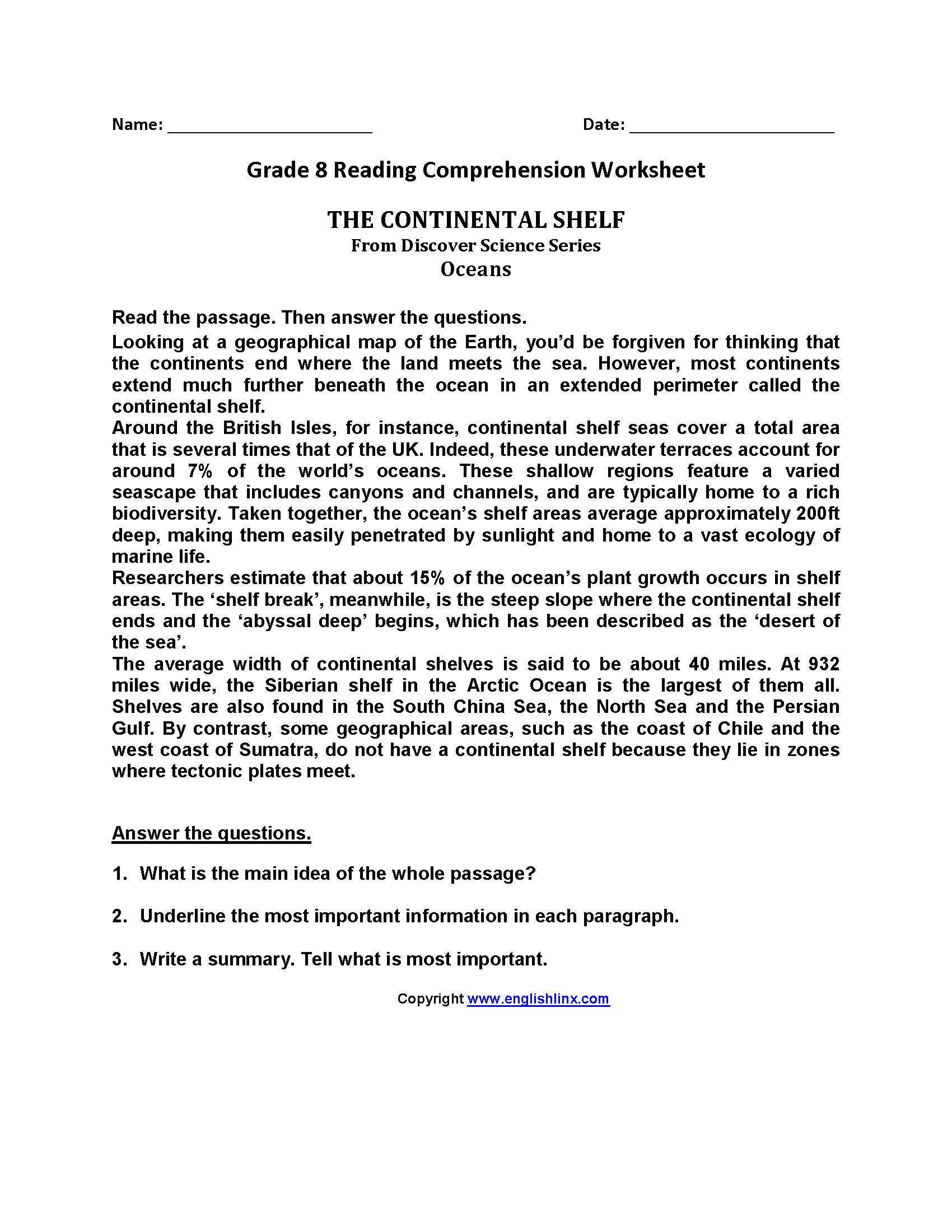 Worksheet Reading Comprehension Worksheets 8th Grade