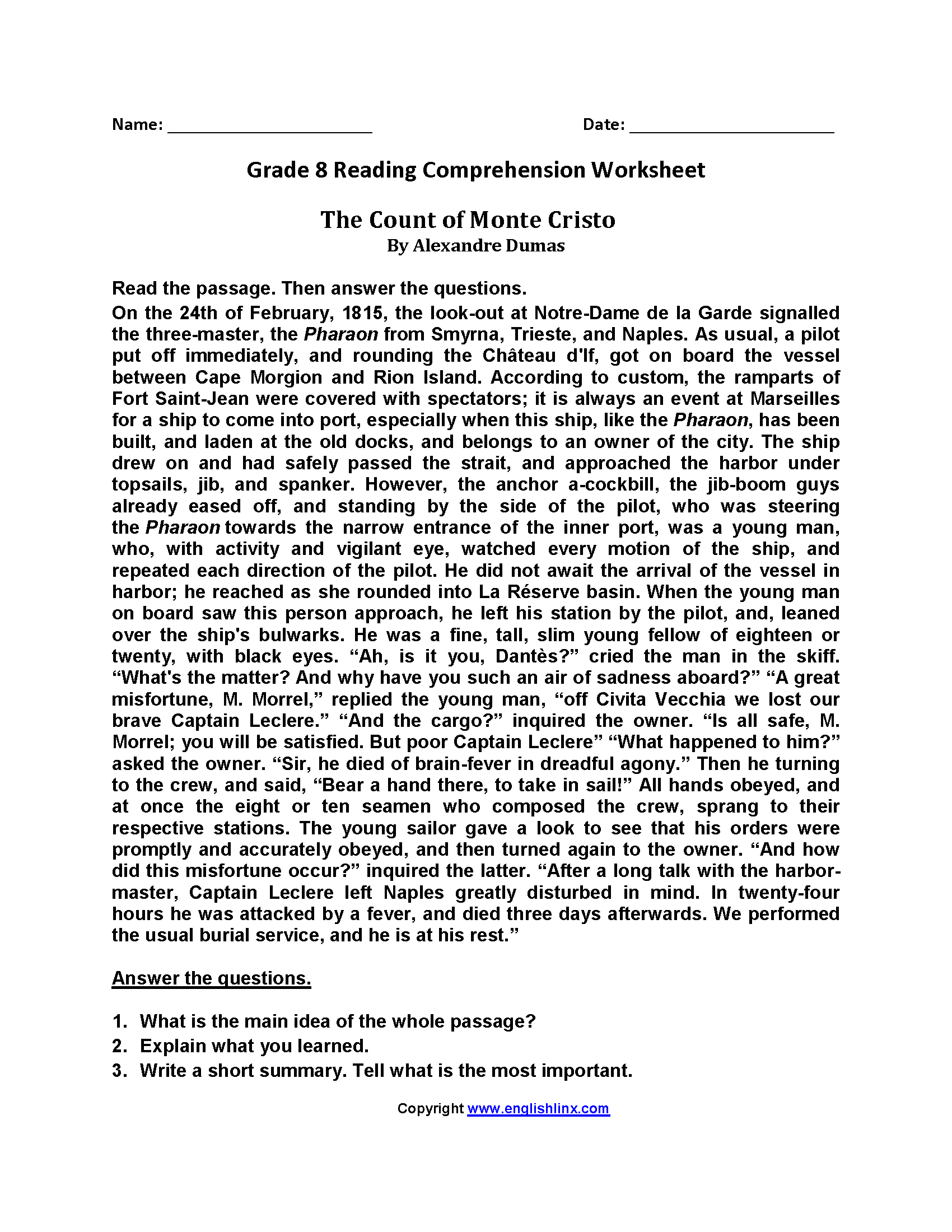 Worksheet Reading Comprehension Worksheets 8th Grade Grass Fedjp Worksheet Study Site