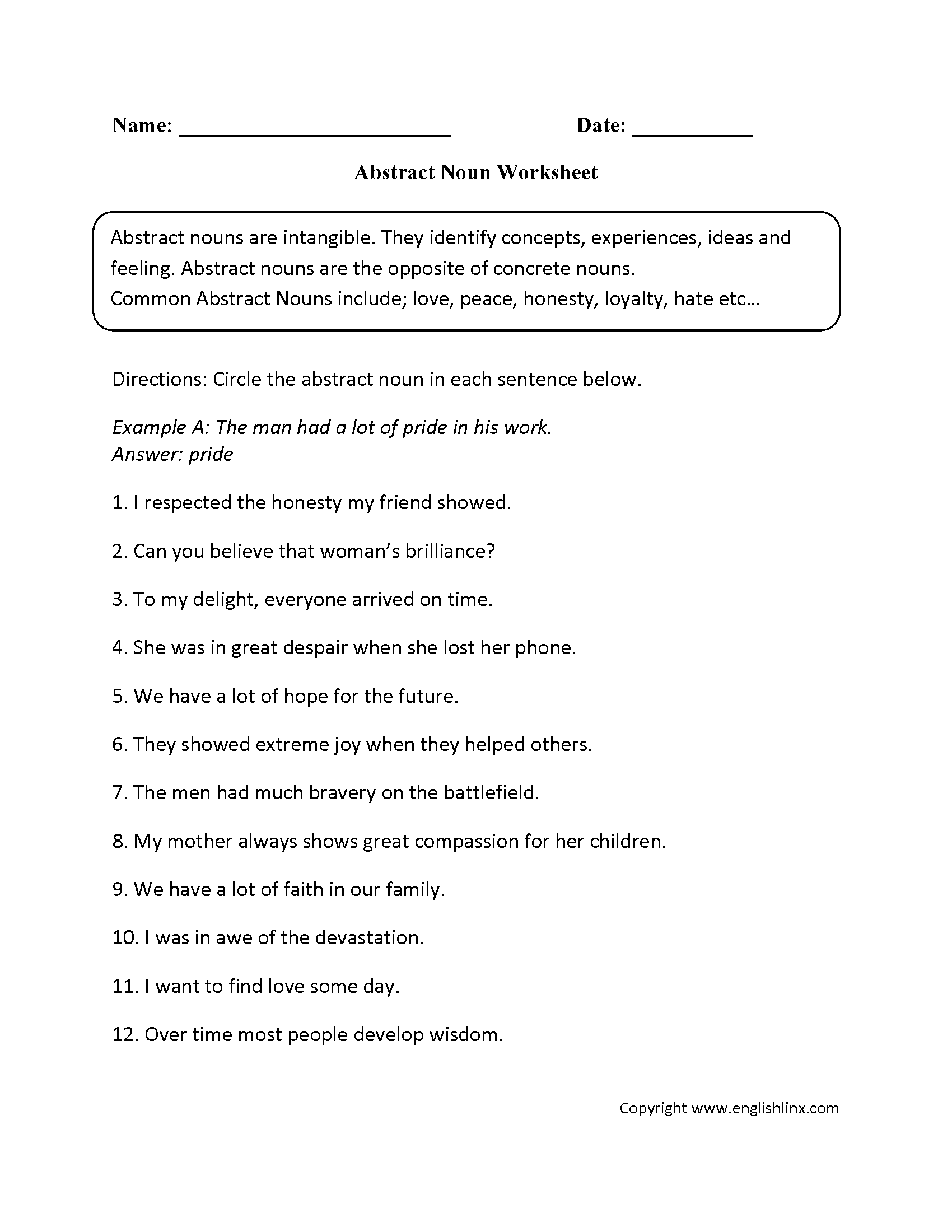 Worksheet On Nouns Grade 6