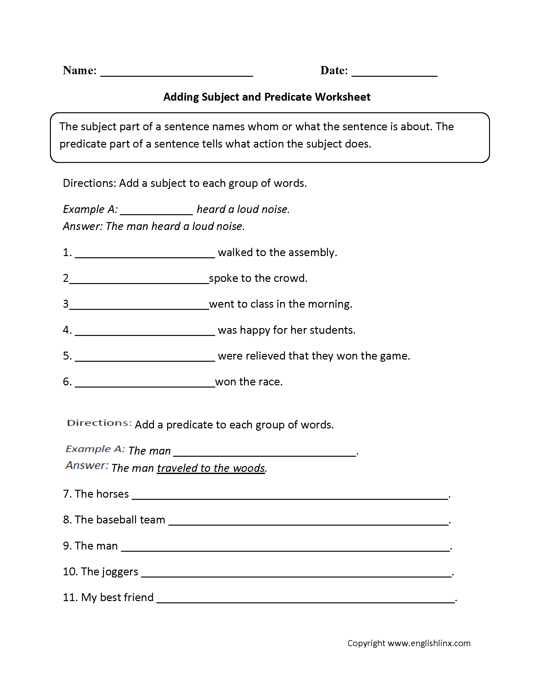 Content By Subject Worksheets
