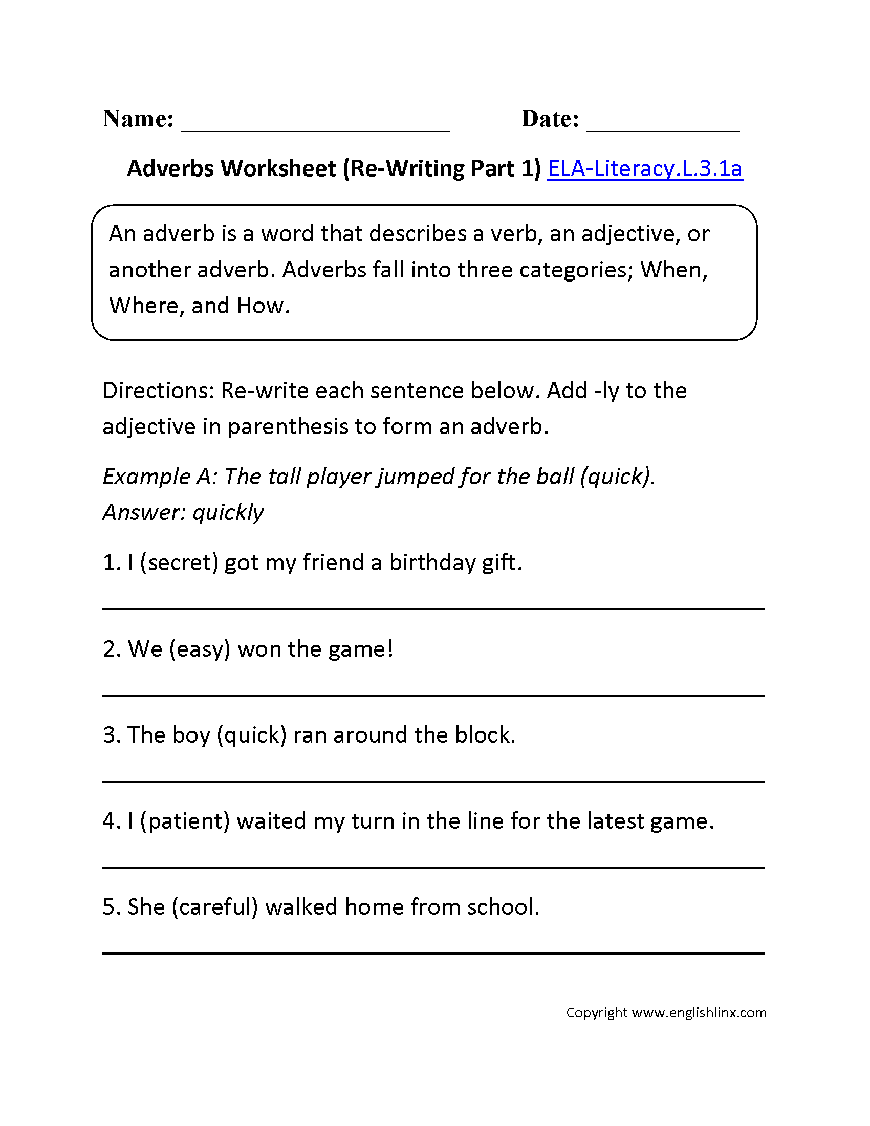 Adverbs Worksheet For 3rd Grade