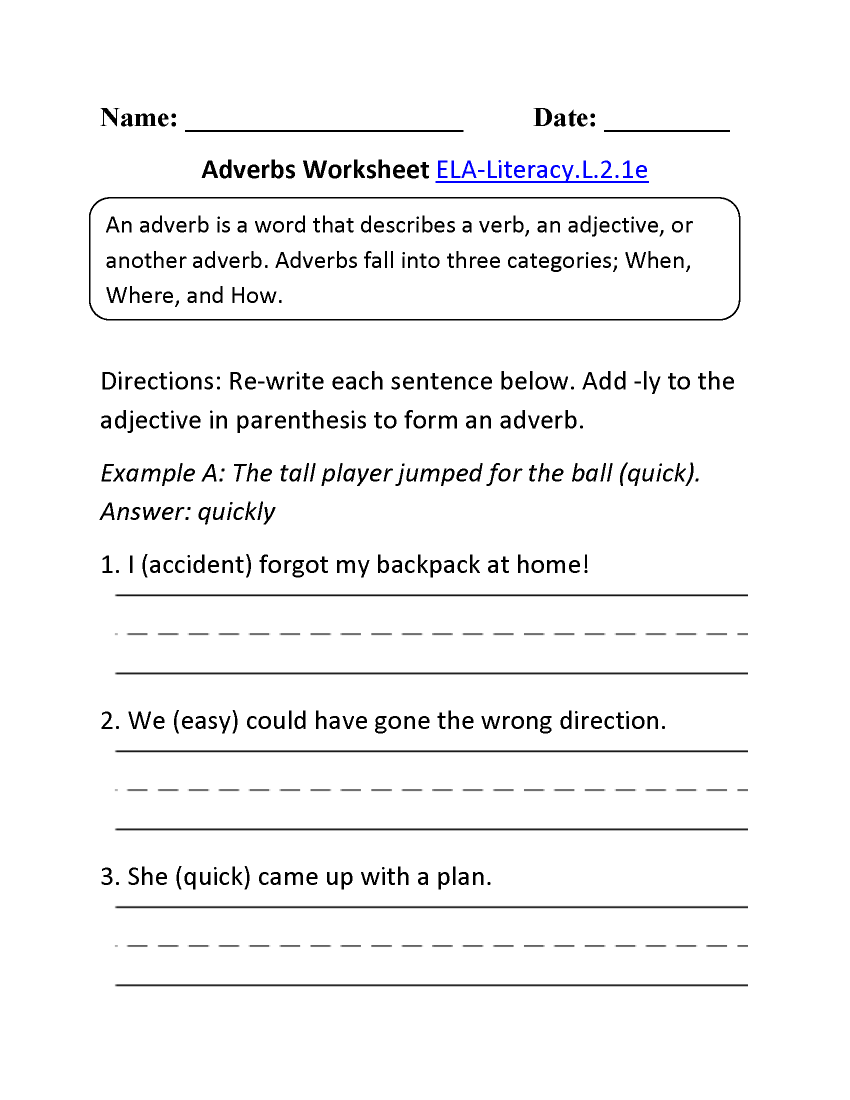 Worksheet Adverb Worksheets 2nd Grade Worksheet Fun Worksheet Study Site