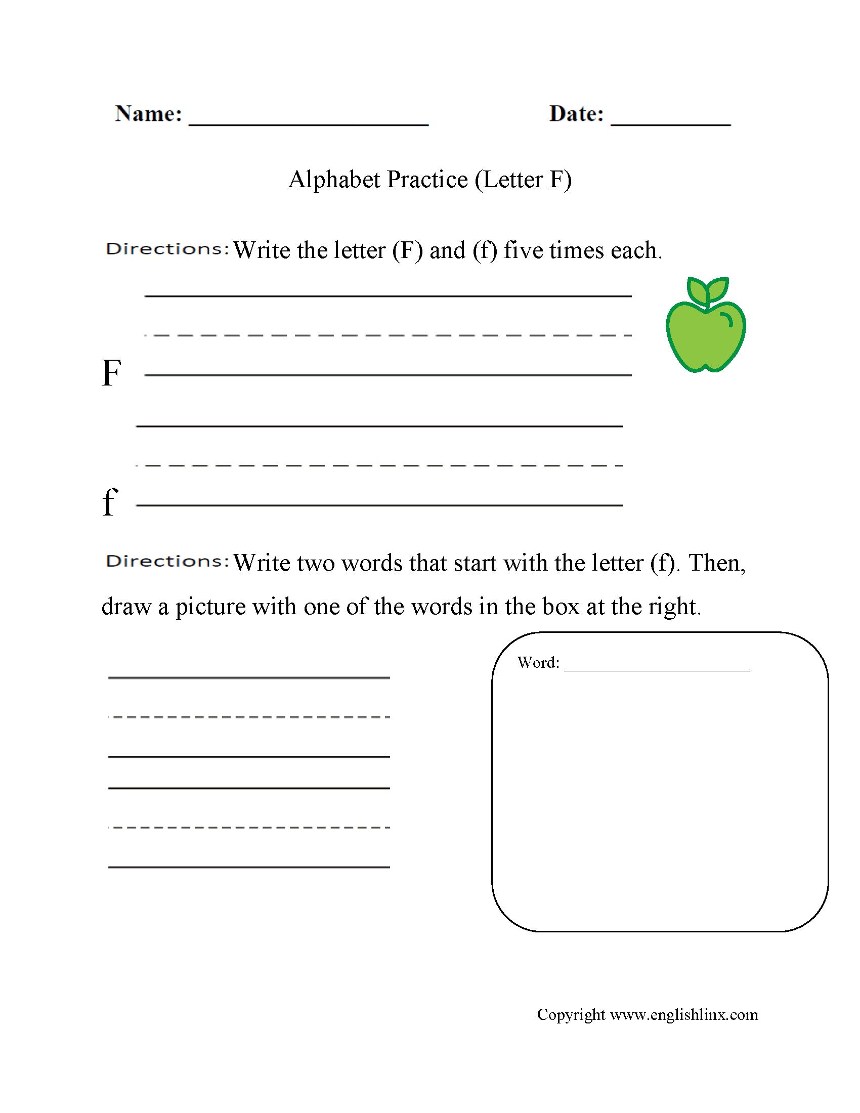 I Spy The Letter F Worksheet
