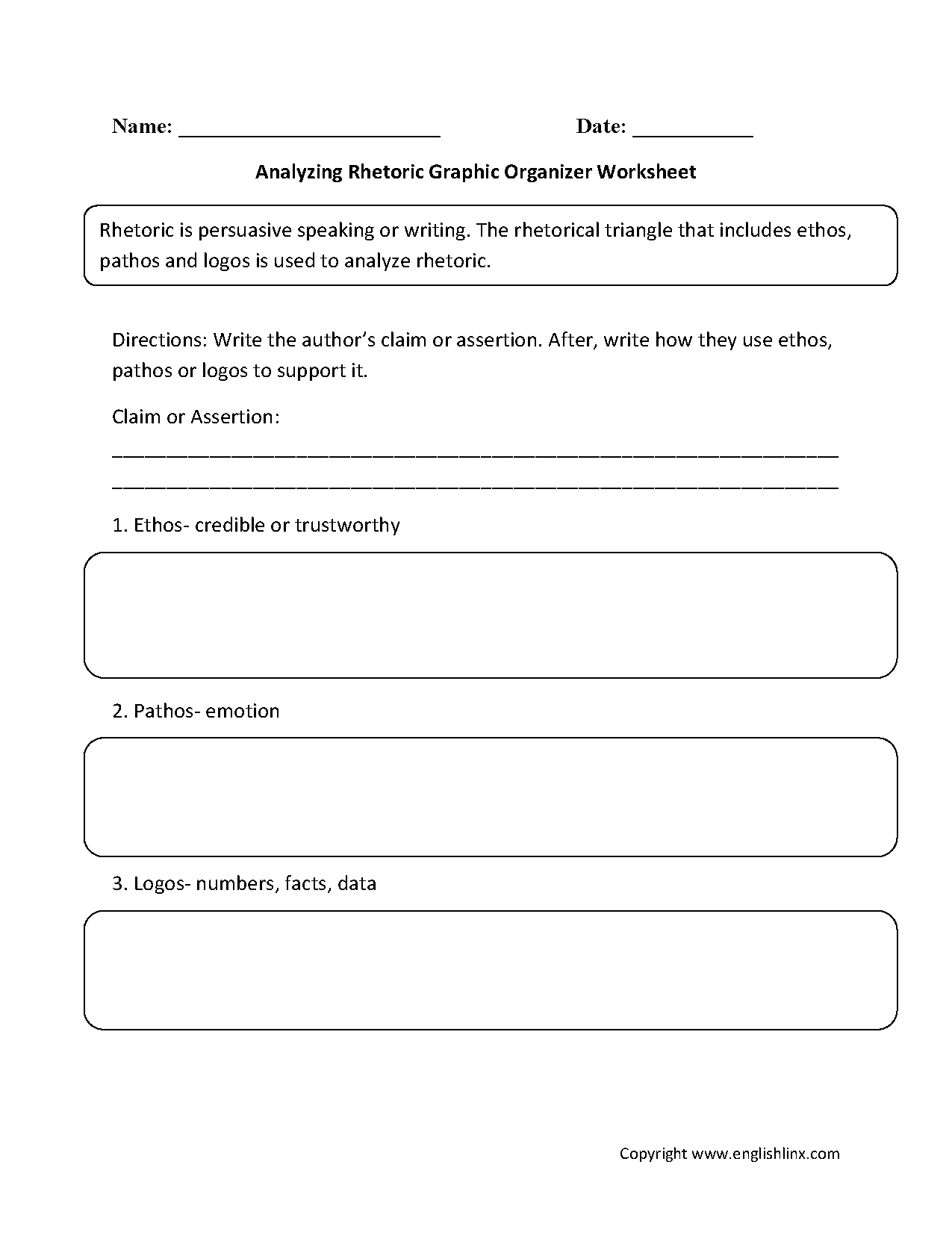 Rhetorical Triangle Worksheet