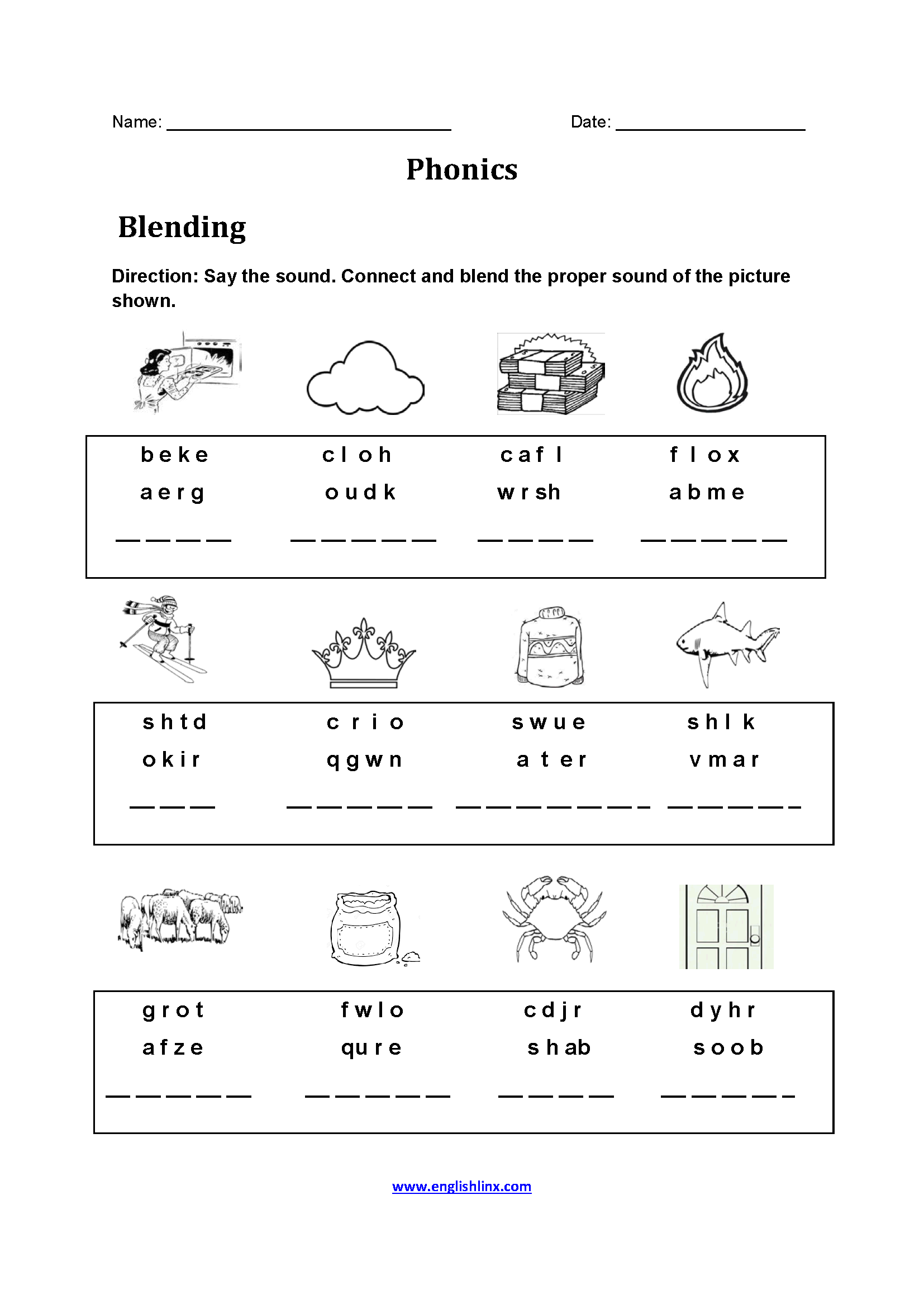 Easy Phonics Worksheets
